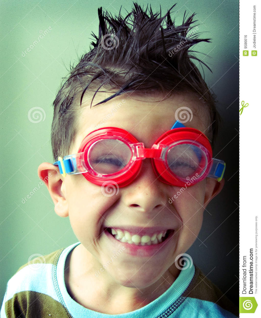 Funny Boy Smiling In Swimming Googles Stock Photo Image