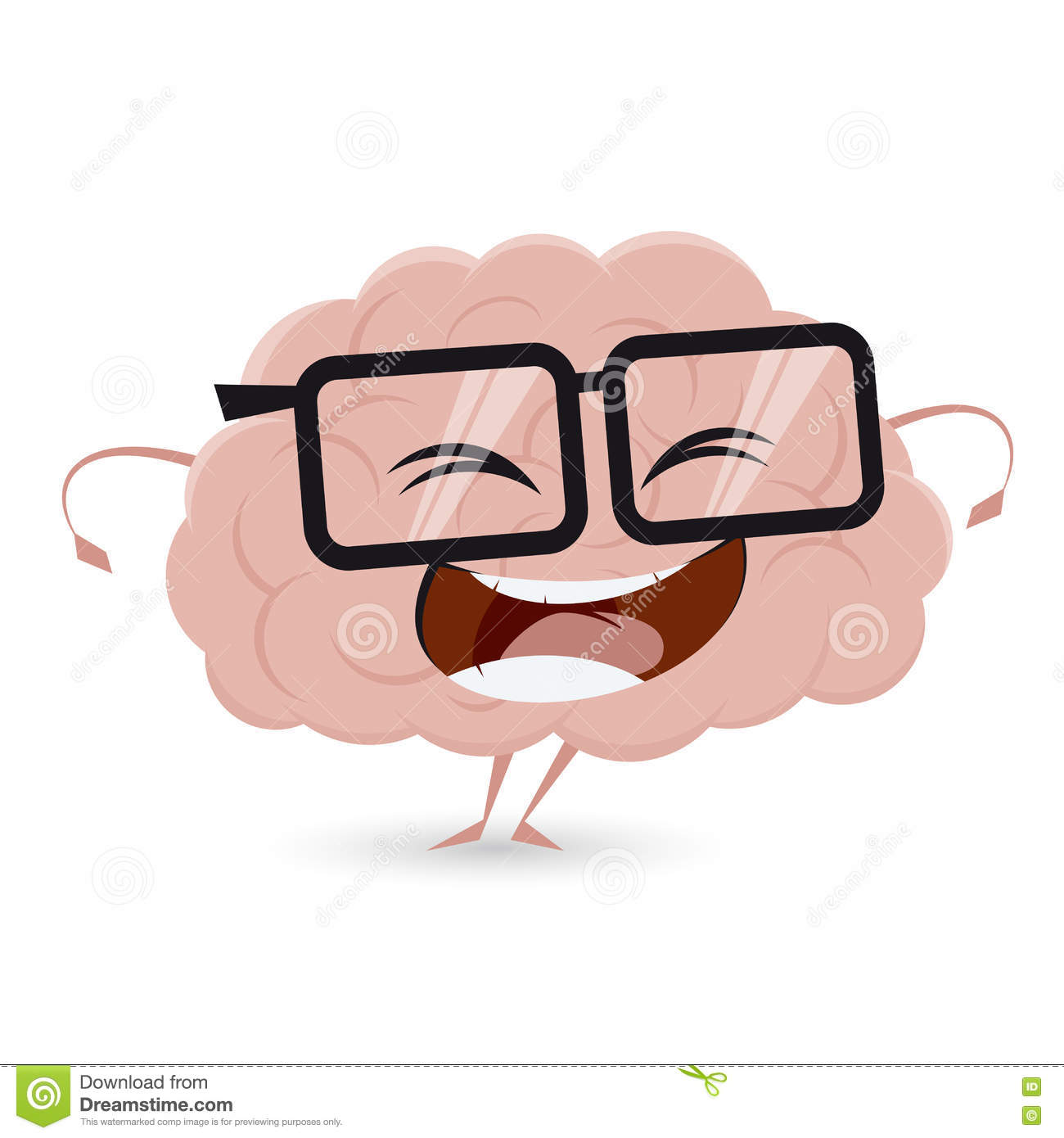 Funny brain with nerd glasses
