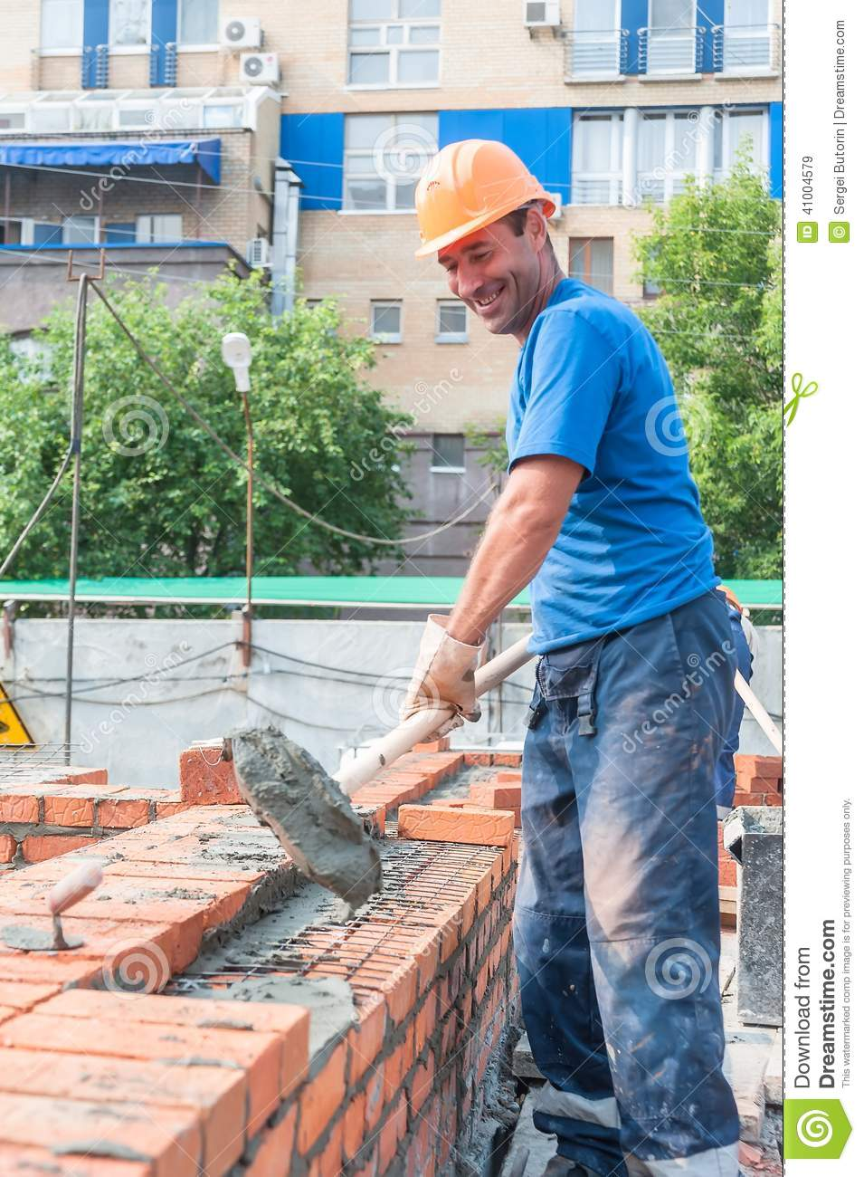 Funny Bricklayer On House Construction Editorial Stock Image Image 41004579