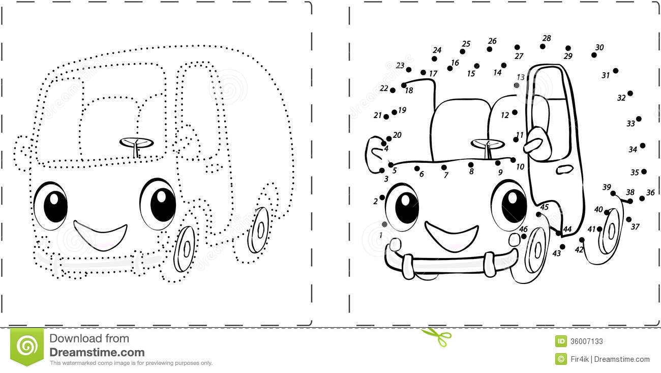 Bus Dot Coloring Pages