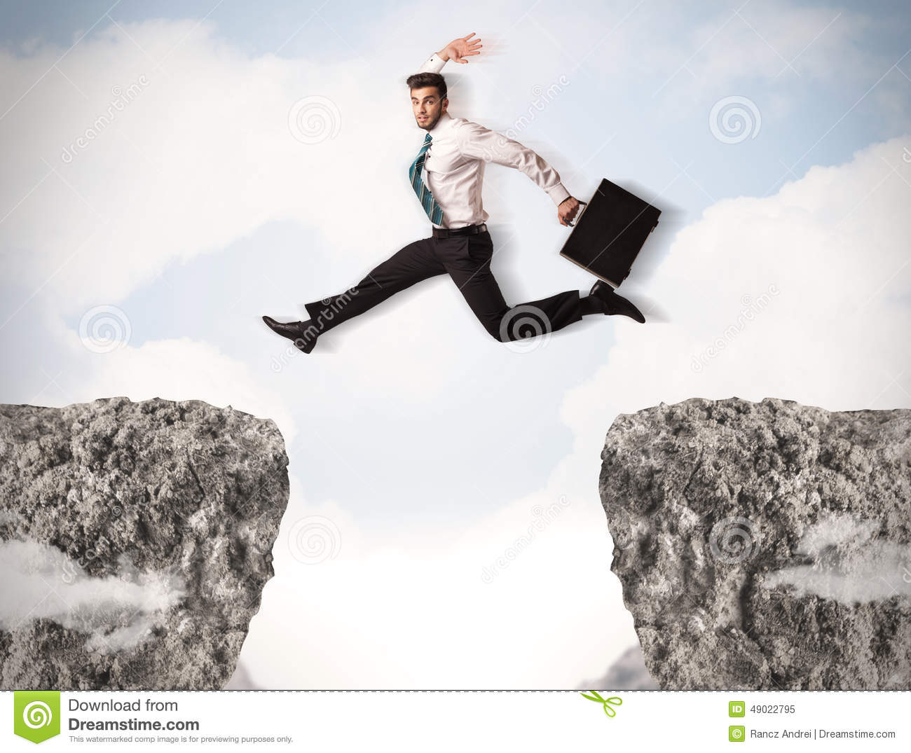 Funny business man jumping over rocks with gap stock image for Jump the gap