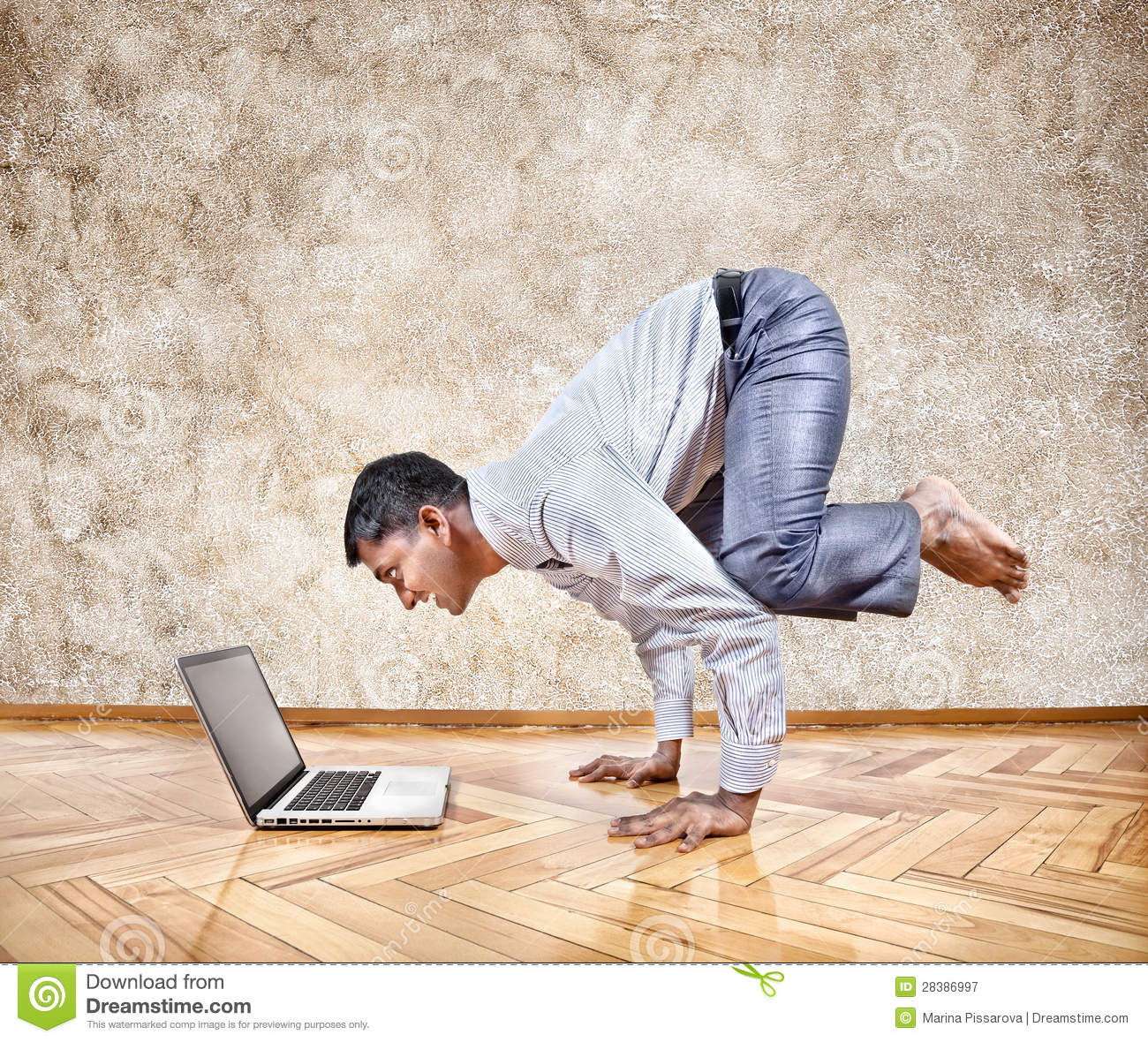Funny Business Yoga Stock Image Of Laptop Businessman