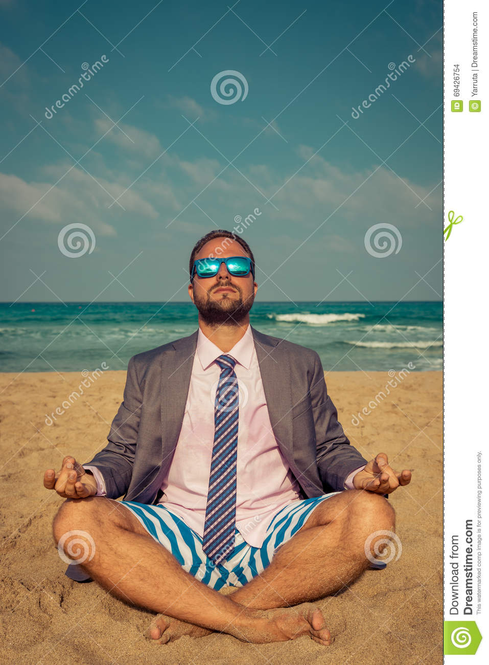 Funny Businessman On The Beach Stock Photo Image 69426754