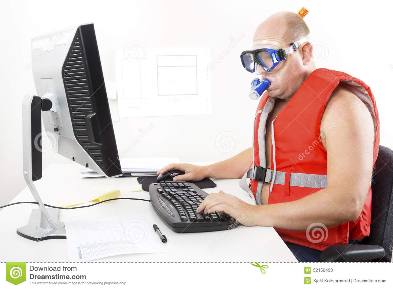 Computer Office Desk Funny Businessman In Diving Mask And Snorkel Stock Photo