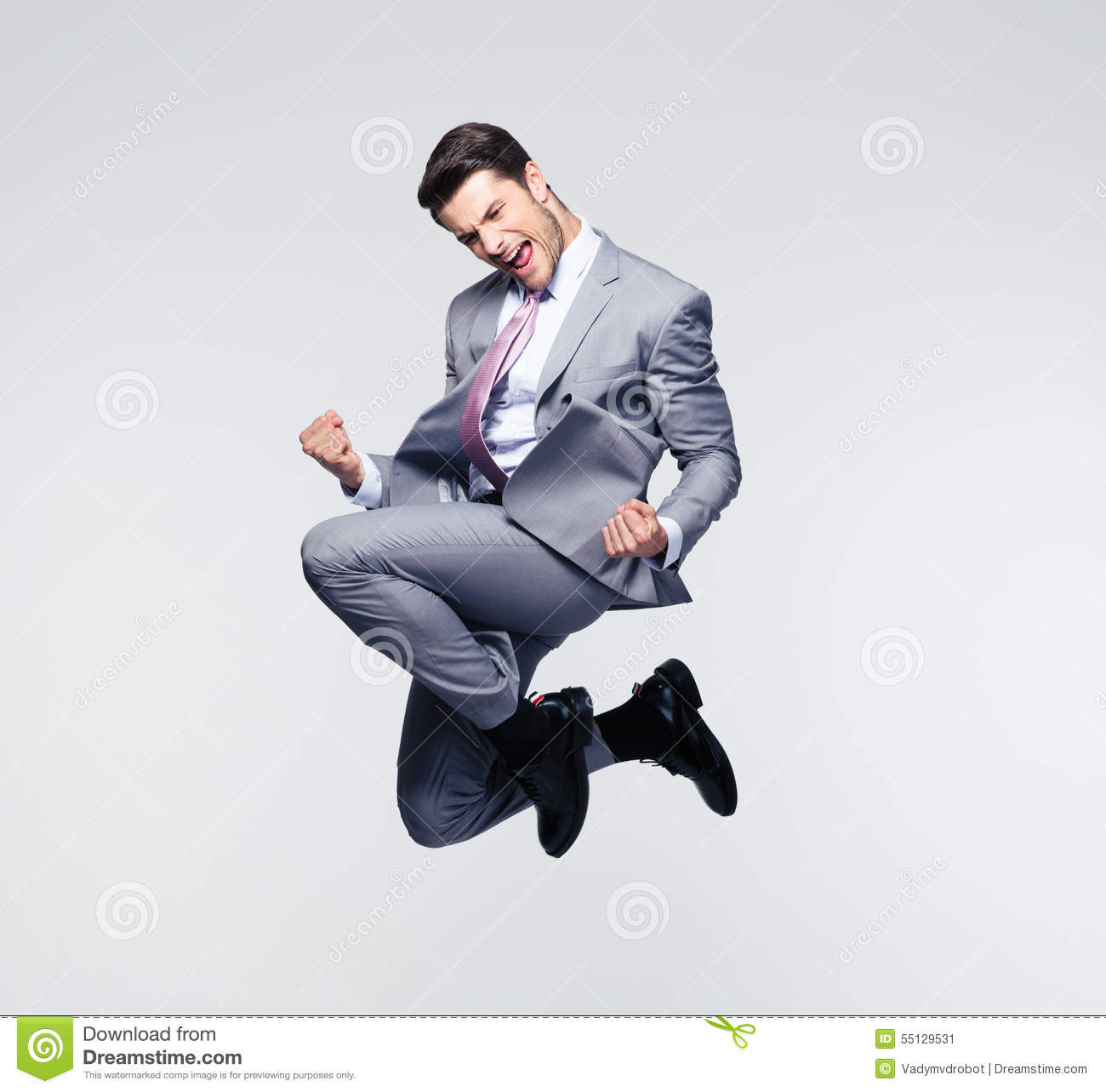 Funny businessman jumping in air