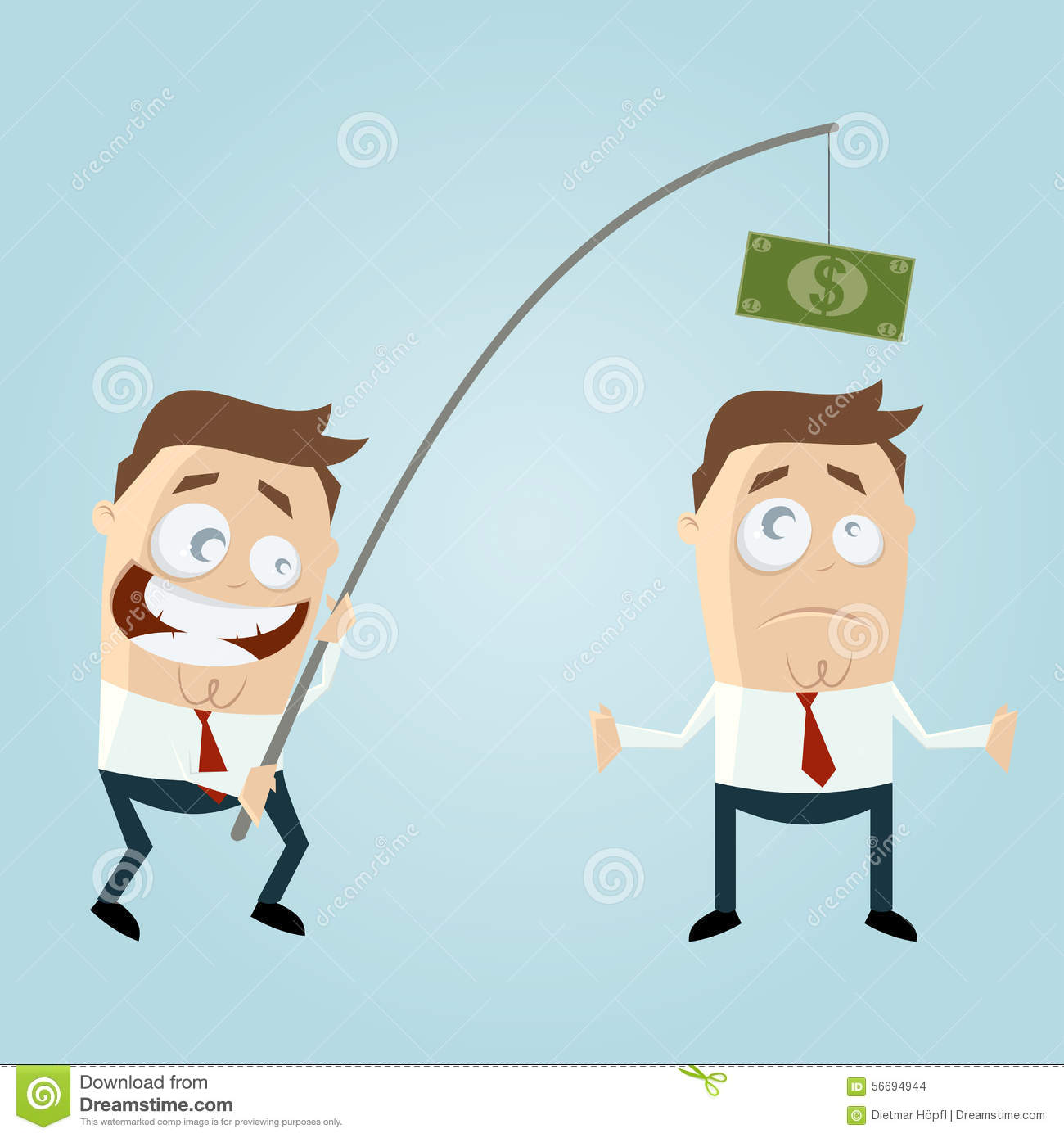 Funny businessman with money on fishing rod stock vector for Fish for cash