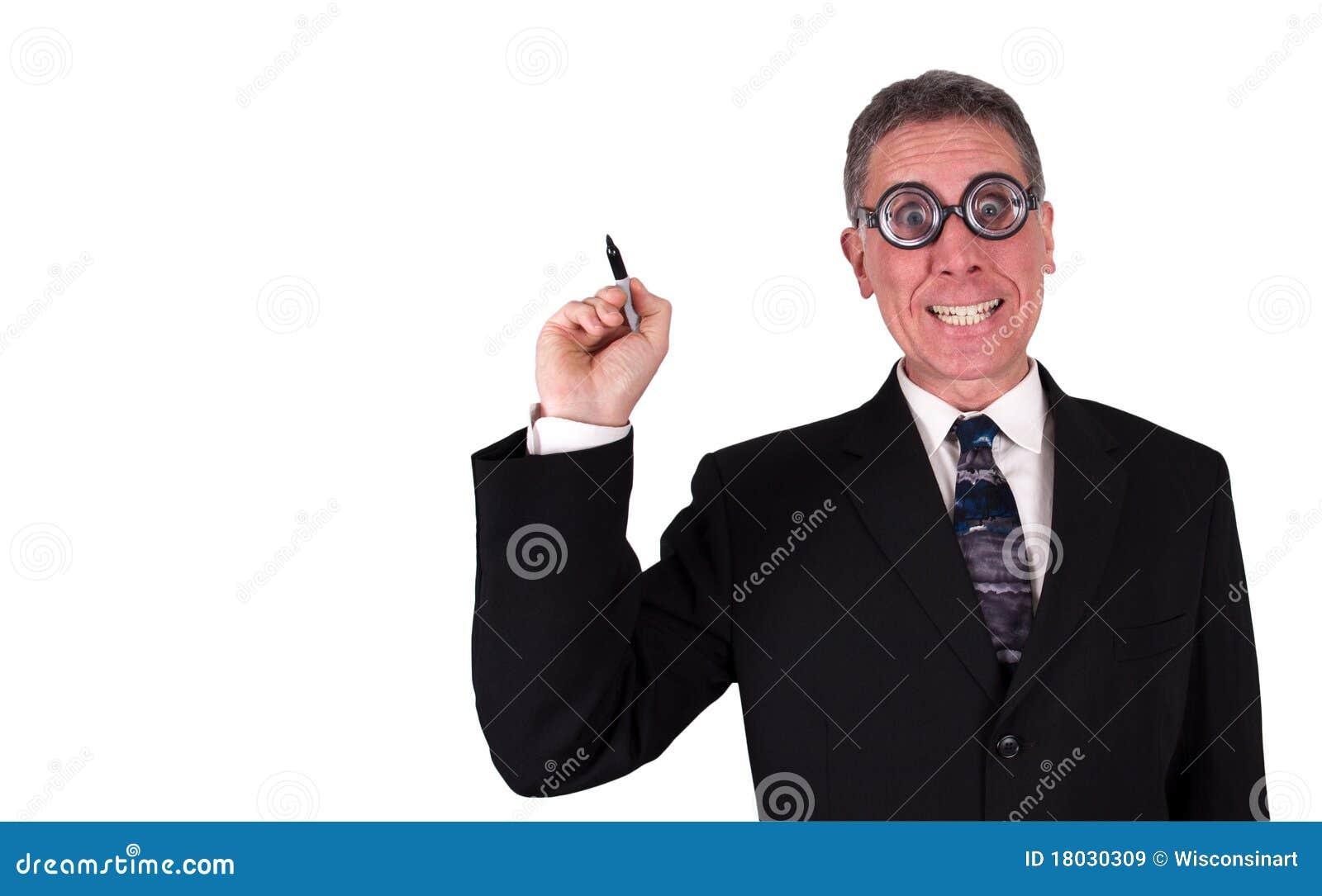 Funny Businessman Write Draw Copy Space