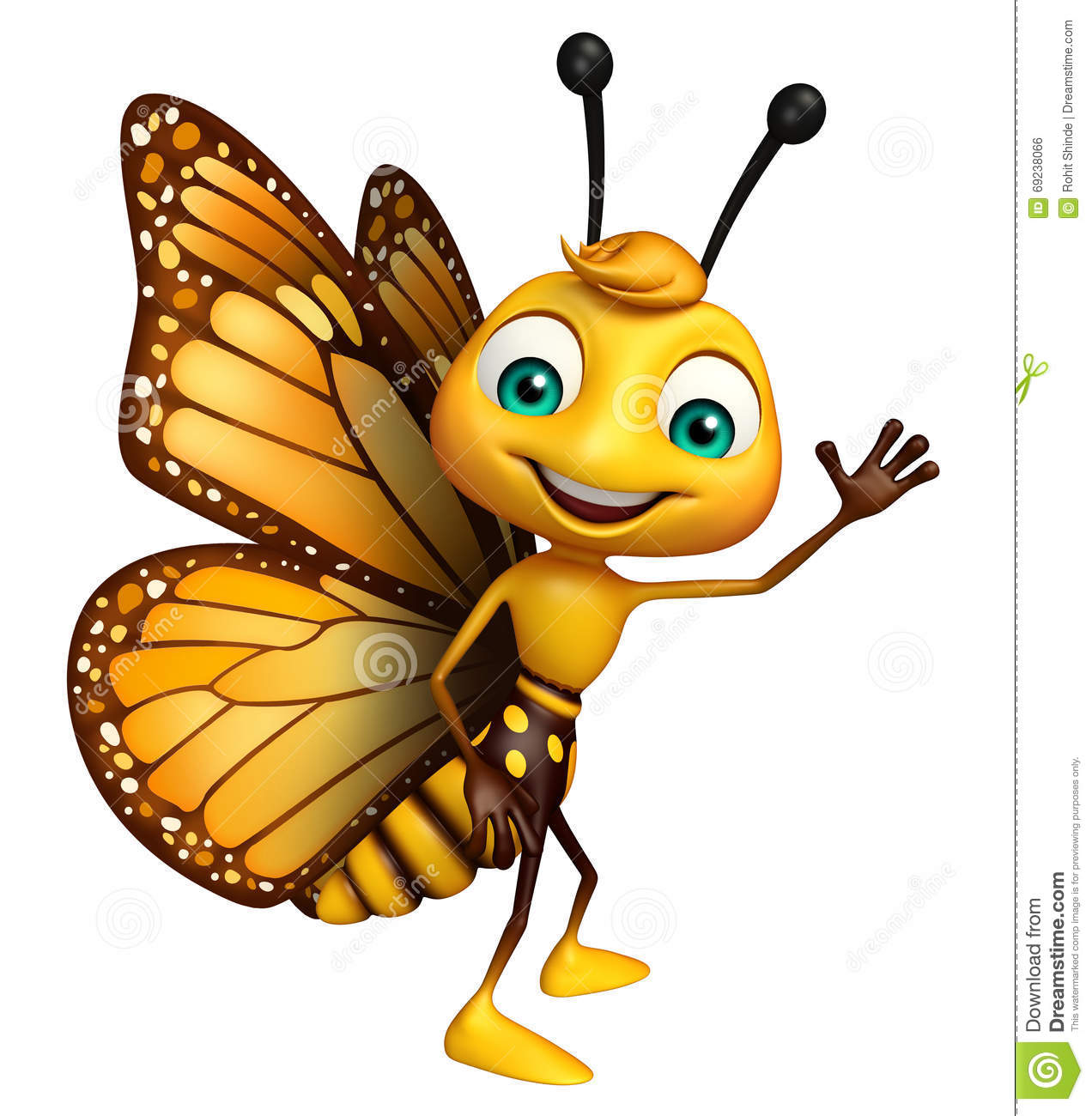 Funny butterfly cartoon character stock illustration