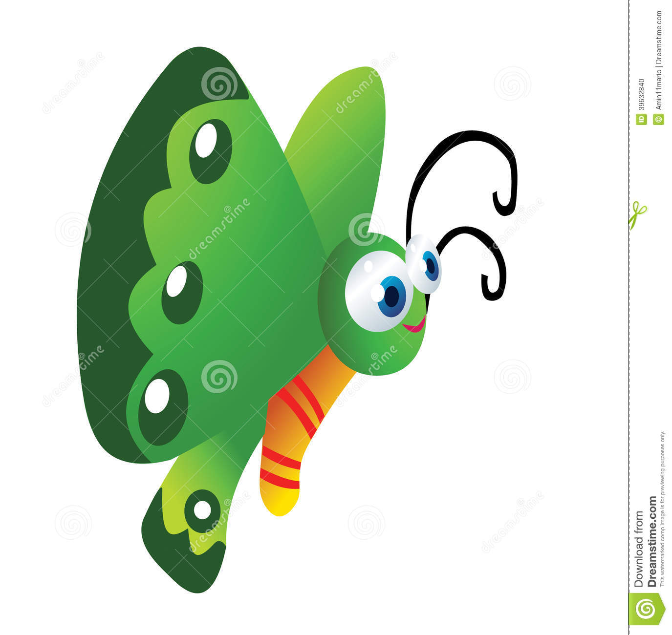 Funny Butterfly Cartoon Stock Illustration - Image: 39632840