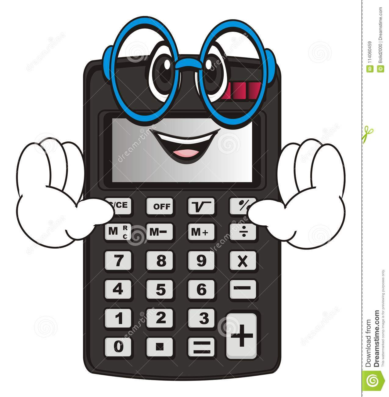 Happy Calculator With Hands In Glasses Stock Illustration ...