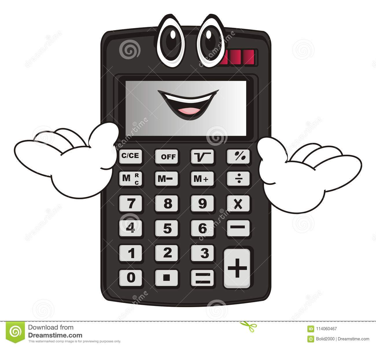 Funny calculator stand stock illustration  Illustration of