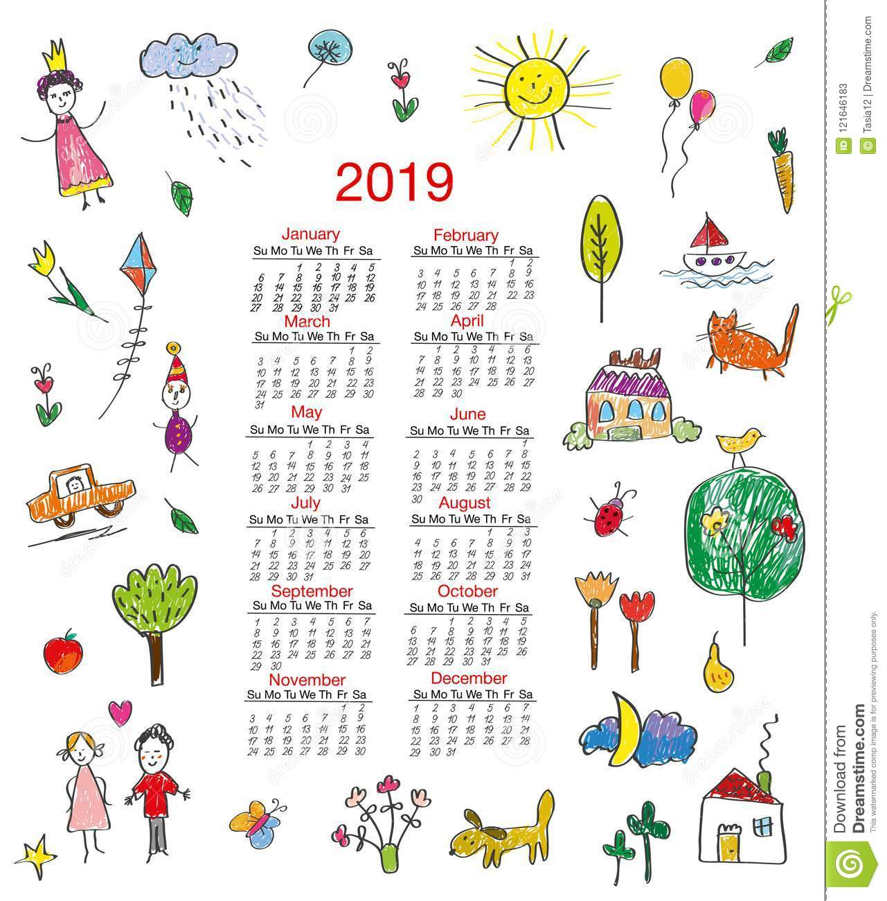 Funny calendar 2019 with kids drawings for children. Vector illustration