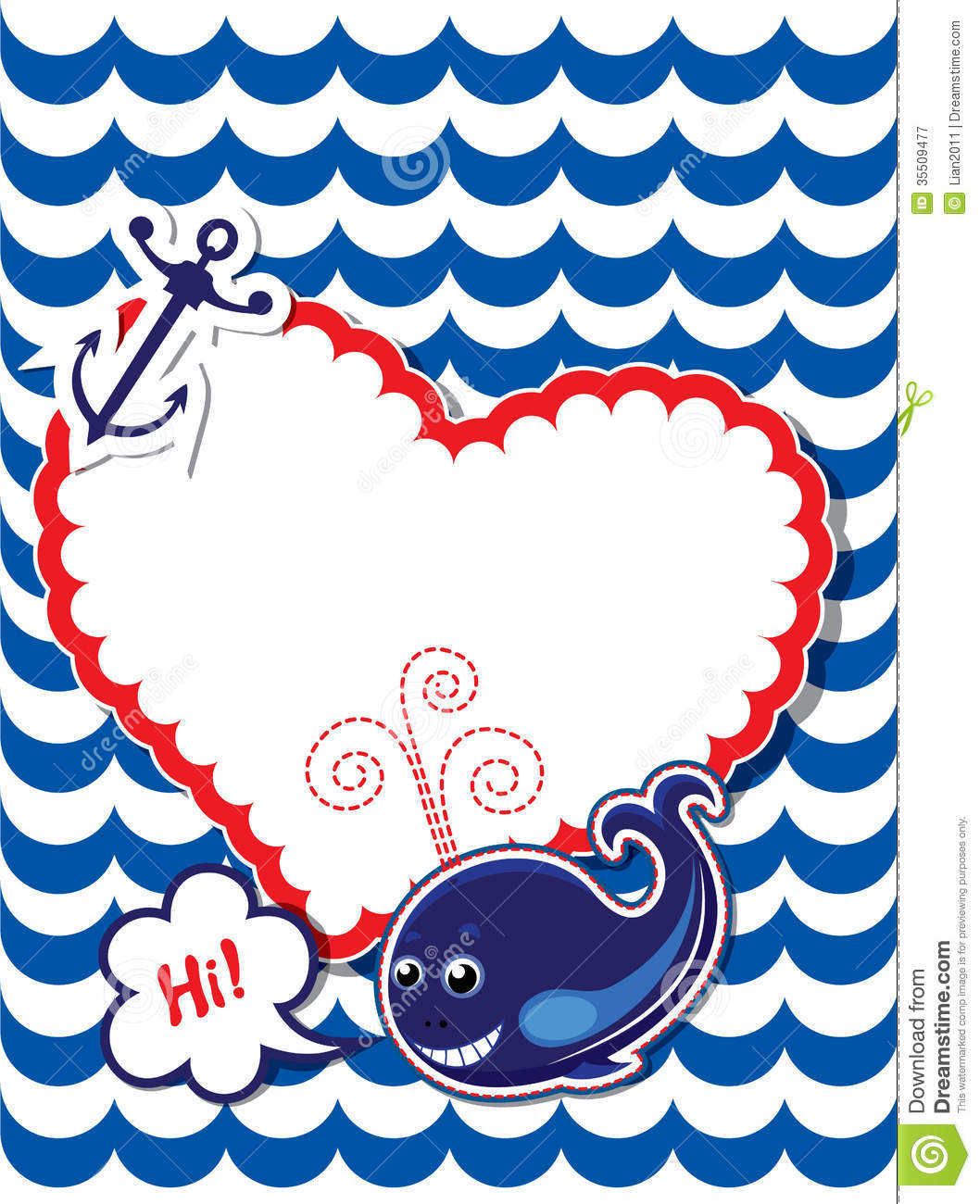 Funny Card With Whale Anchor And Empty Frame For Stock