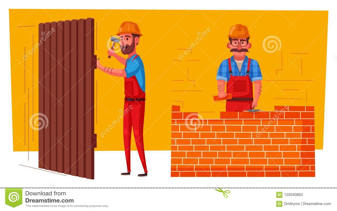 funny carpenter and builder is working stock vector illustration