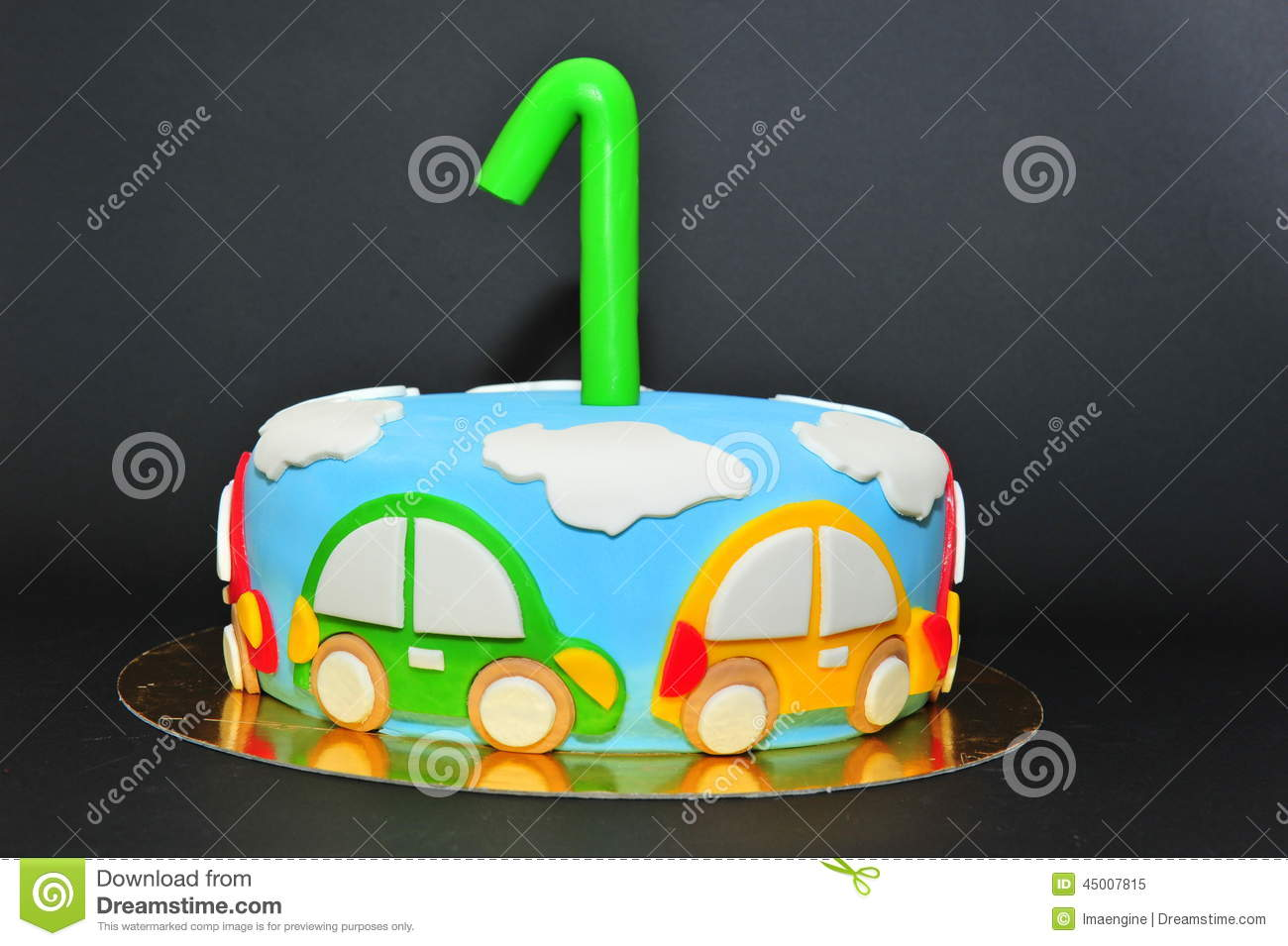 Funny Cars Theme Kids Fondant Cake Stock Image Image of brown