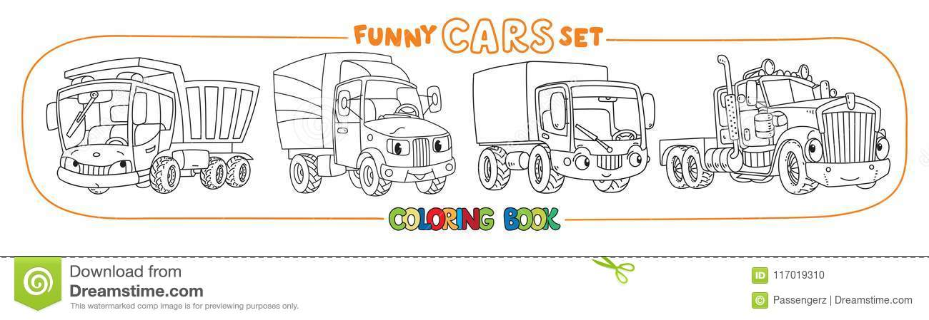 Funny Cars Or Trucks With Eyes Coloring Book Set Stock Vector