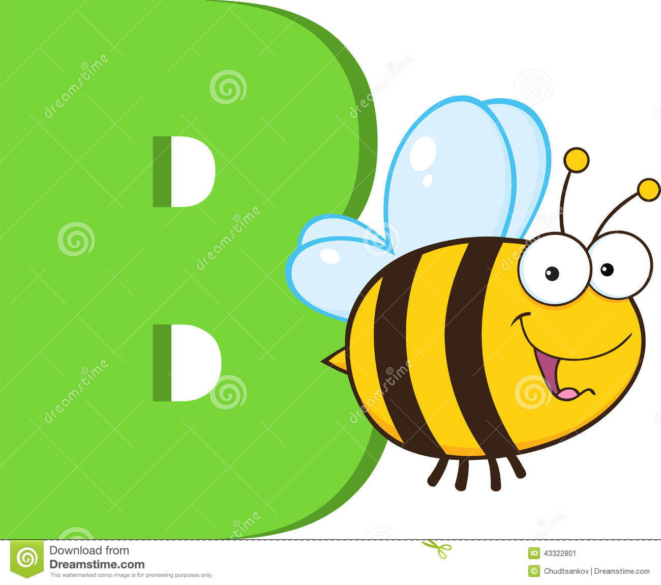 funny cartoon alphabet b with bee
