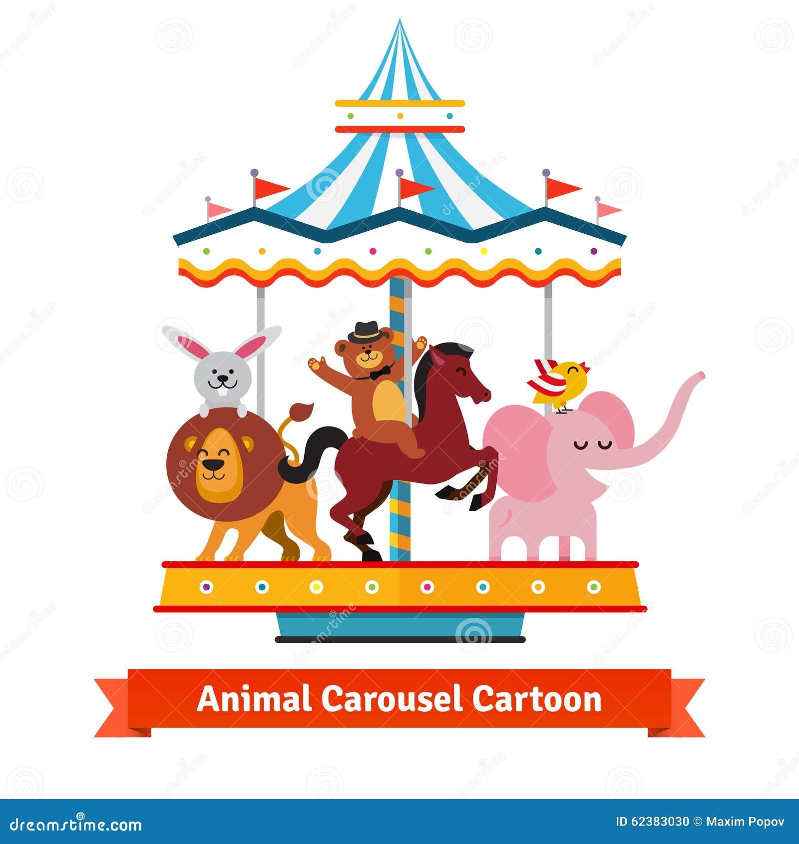 Funny Cartoon Animals Riding On Carnival Carousel Stock