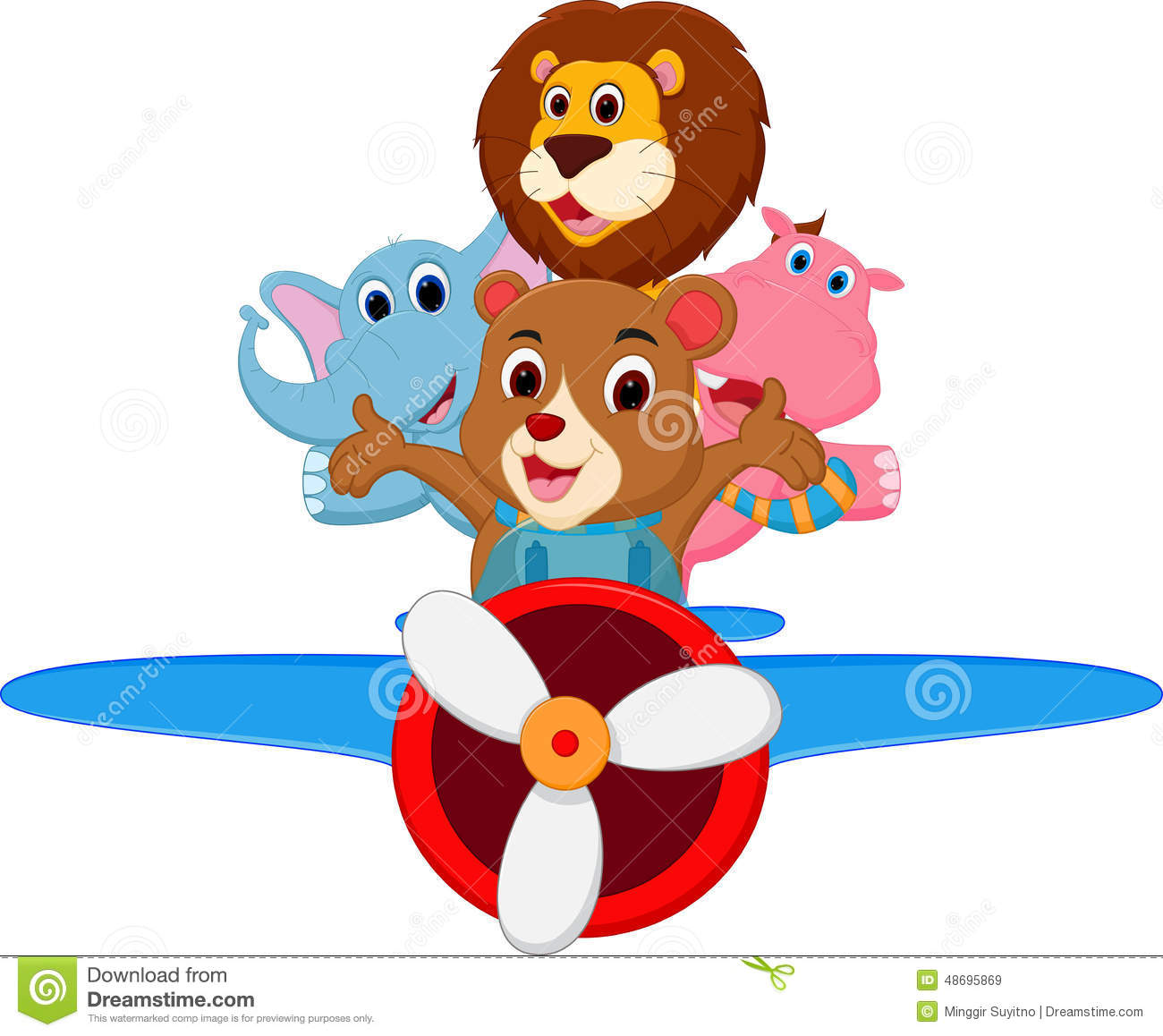 funny cartoon animals riding a plane stock vector