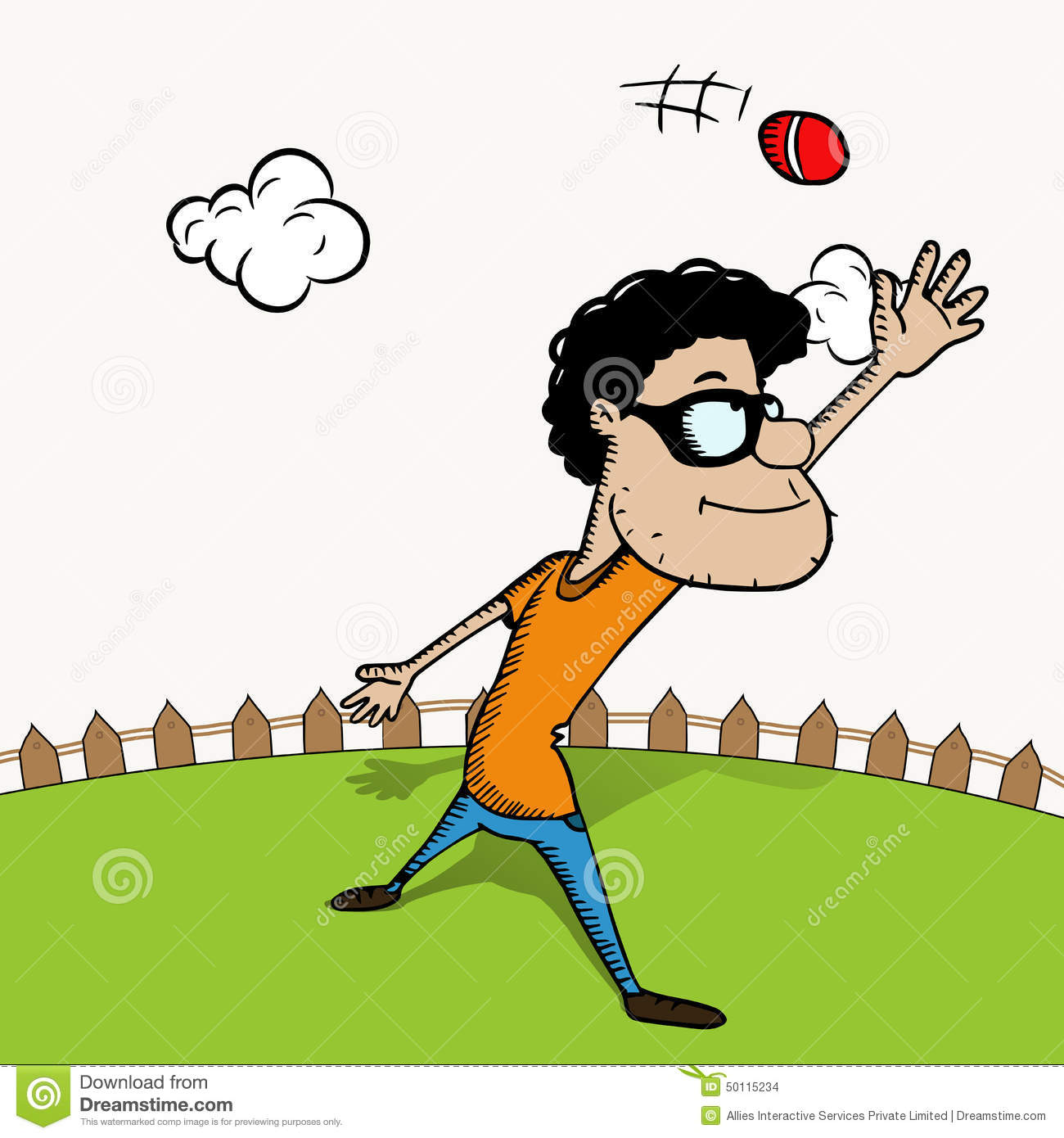 funny cartoon with ball for cricket stock illustration
