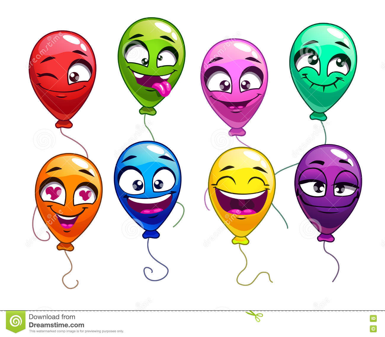 Funny Cartoon Balloons With Comic Faces Cartoon Vector ...
