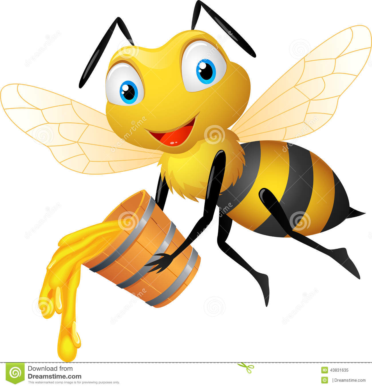Illustration of funny cartoon bee holding honey bucket.