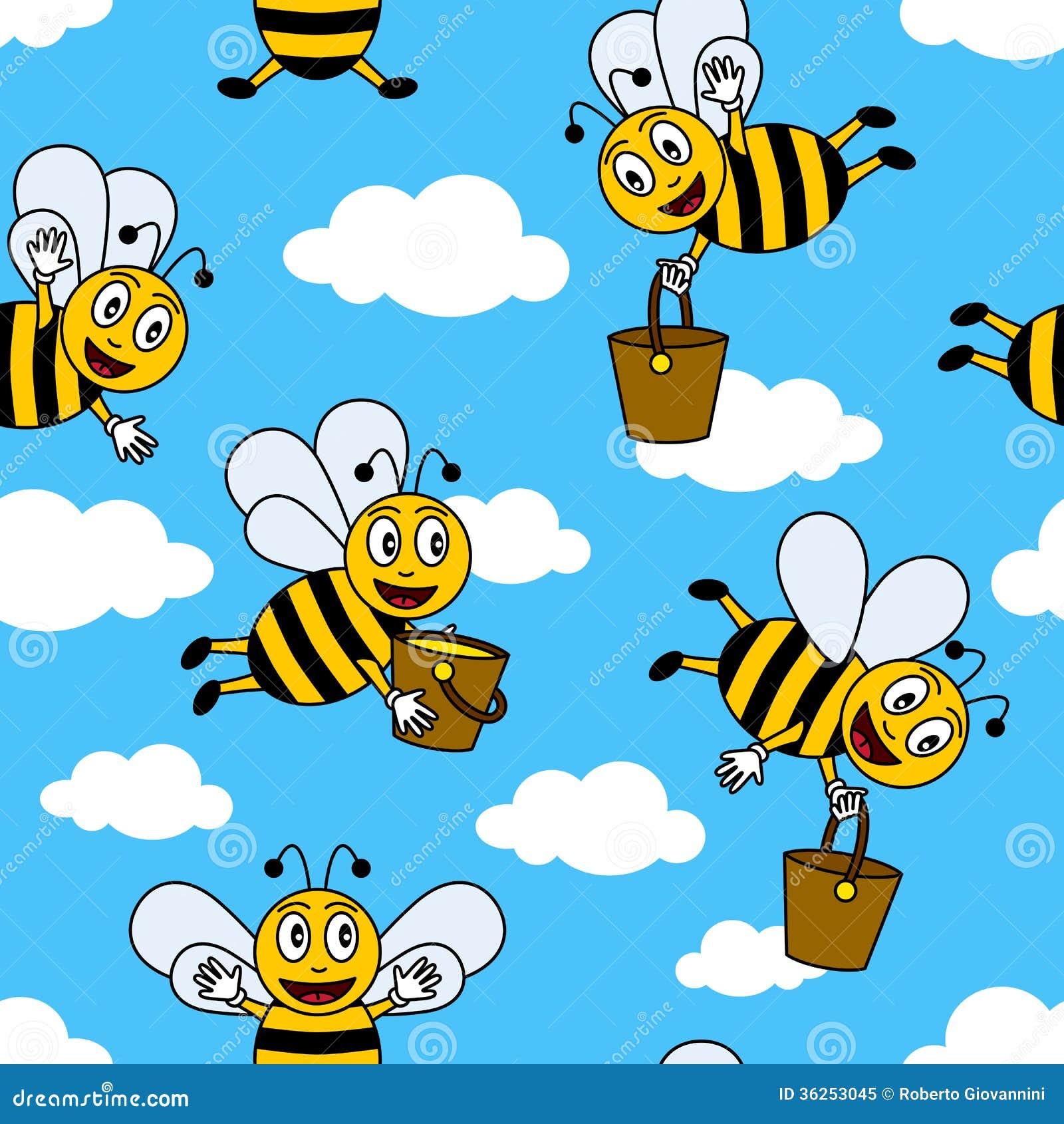 funny cartoon bees seamless pattern royalty free stock photo