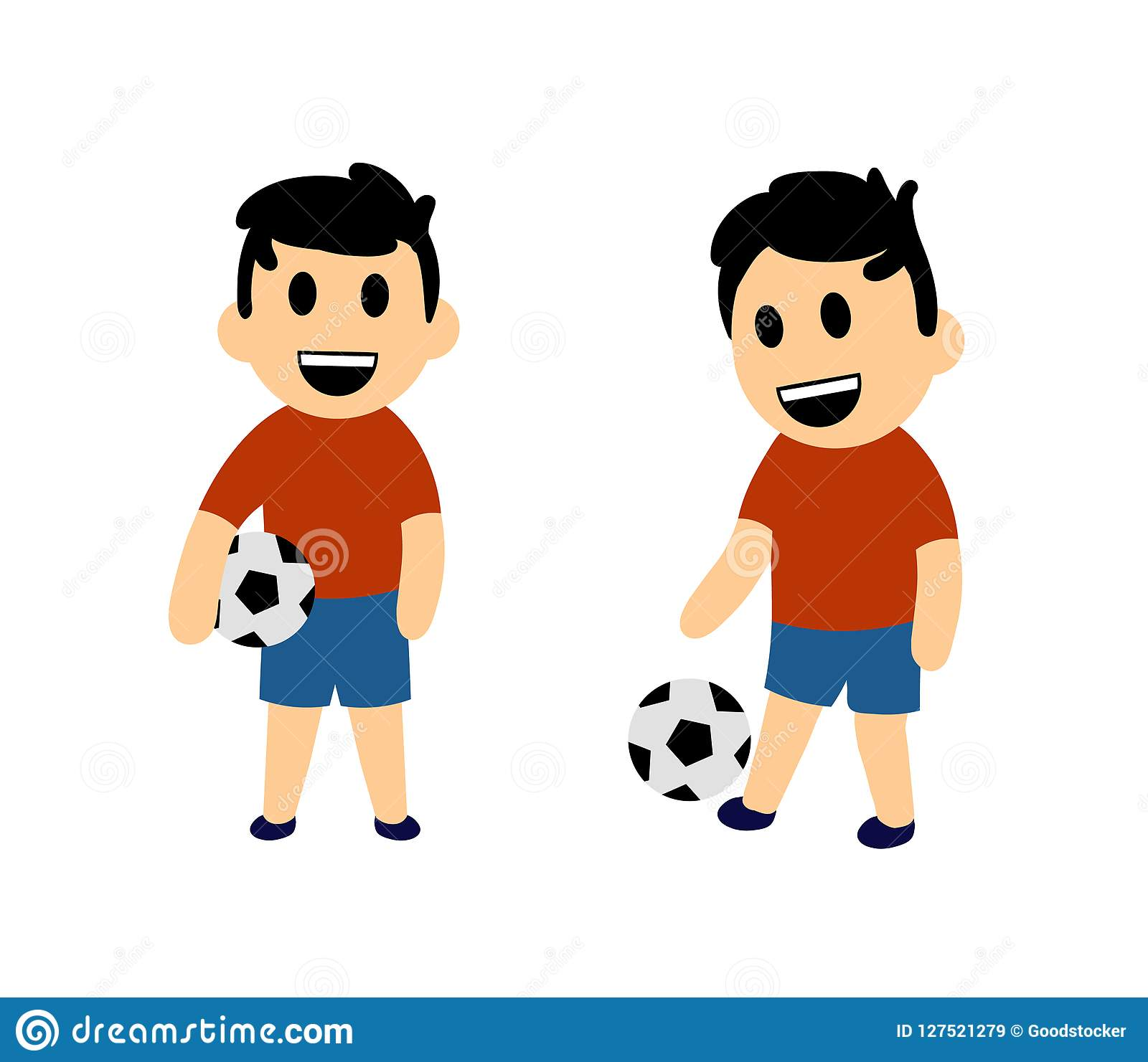 Funny Cartoon Images Of Boys funny cartoon boy playing football. set of two characters