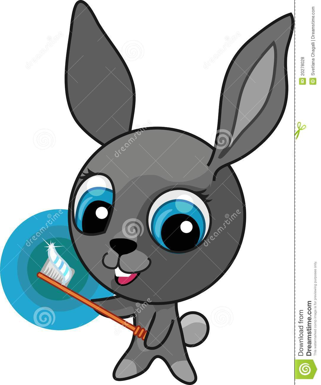 Cute Toothbrush Drawing Funny Cartoon Bunny Wi...