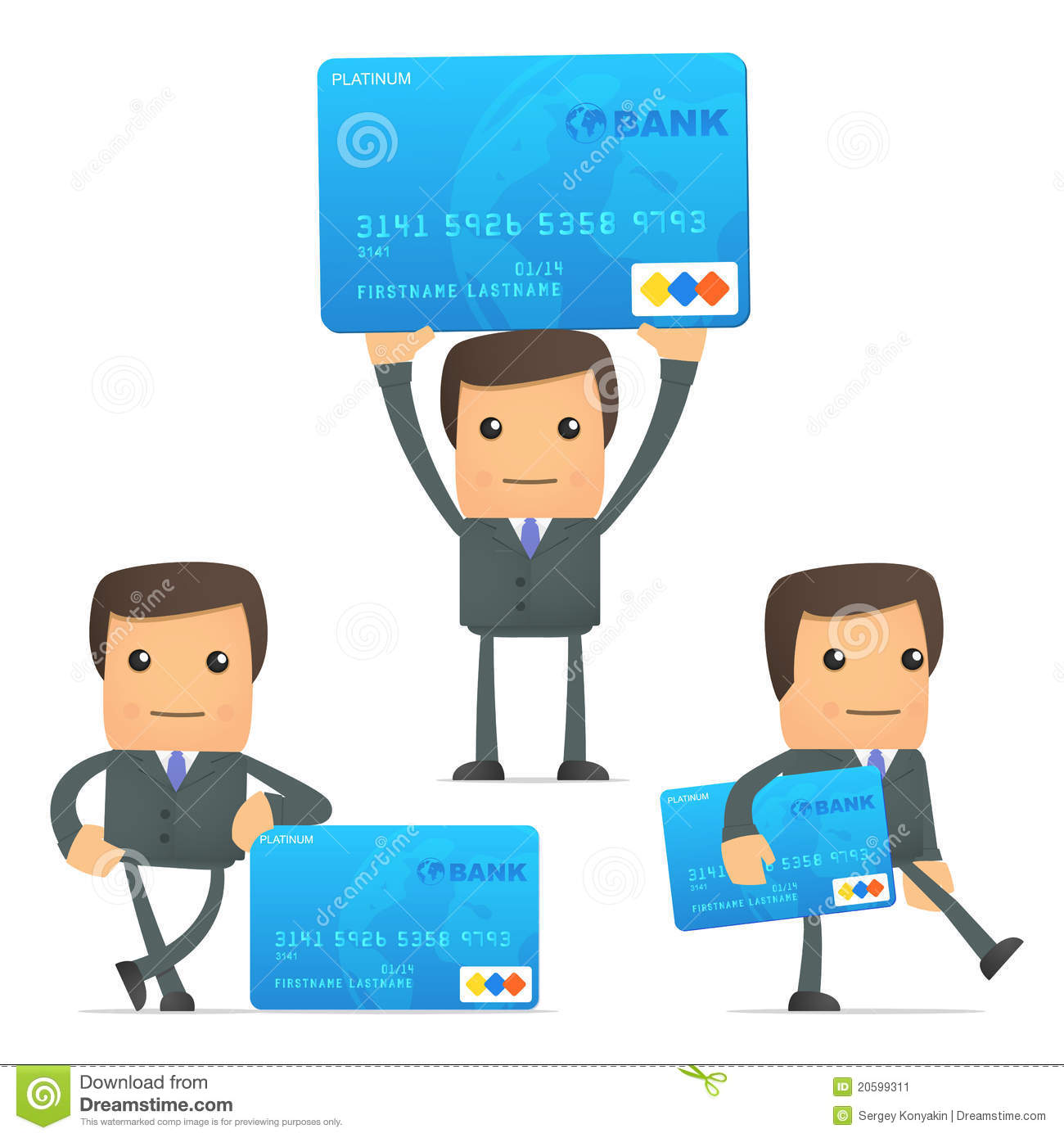 cartoon businessman with credit card stock image   image 20599311