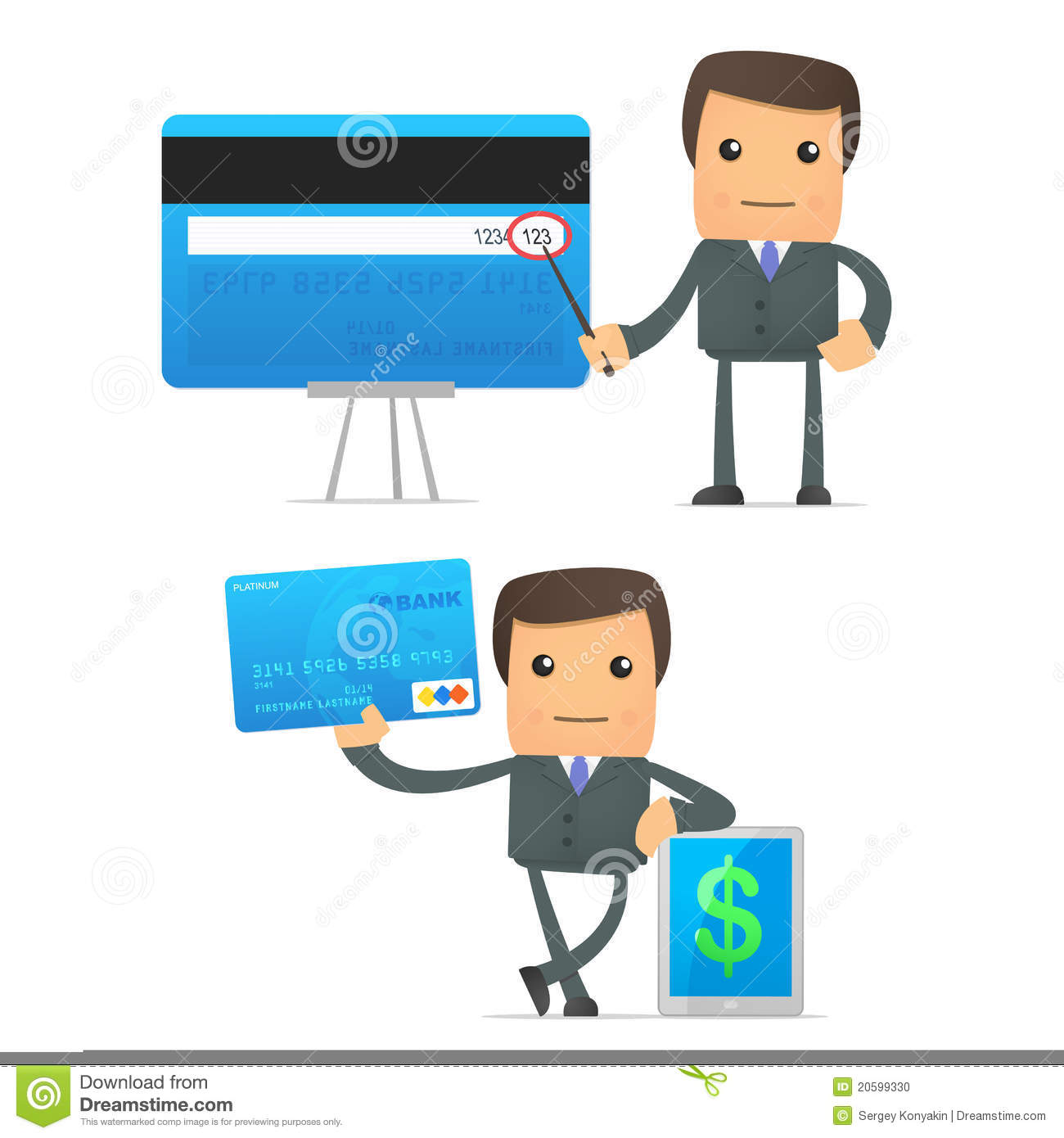 funny cartoon businessman with credit card stock illustration