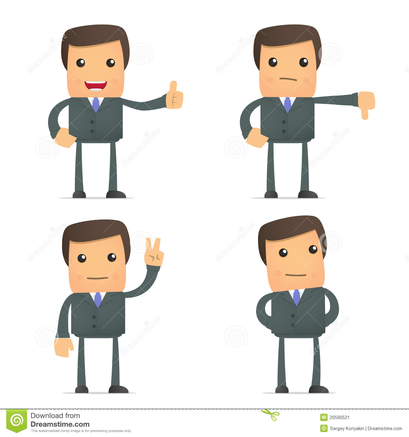 Funny Cartoon Businessman Hold Thumb Up And Down Stock ...
