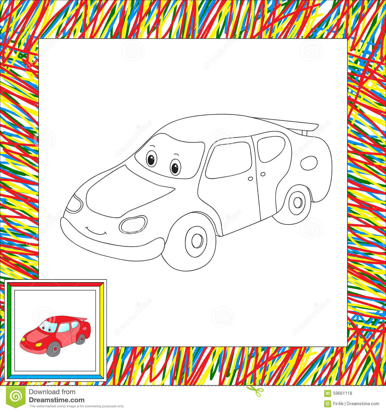 Book Car Cartoon Coloring Funny Illustration Vector Child