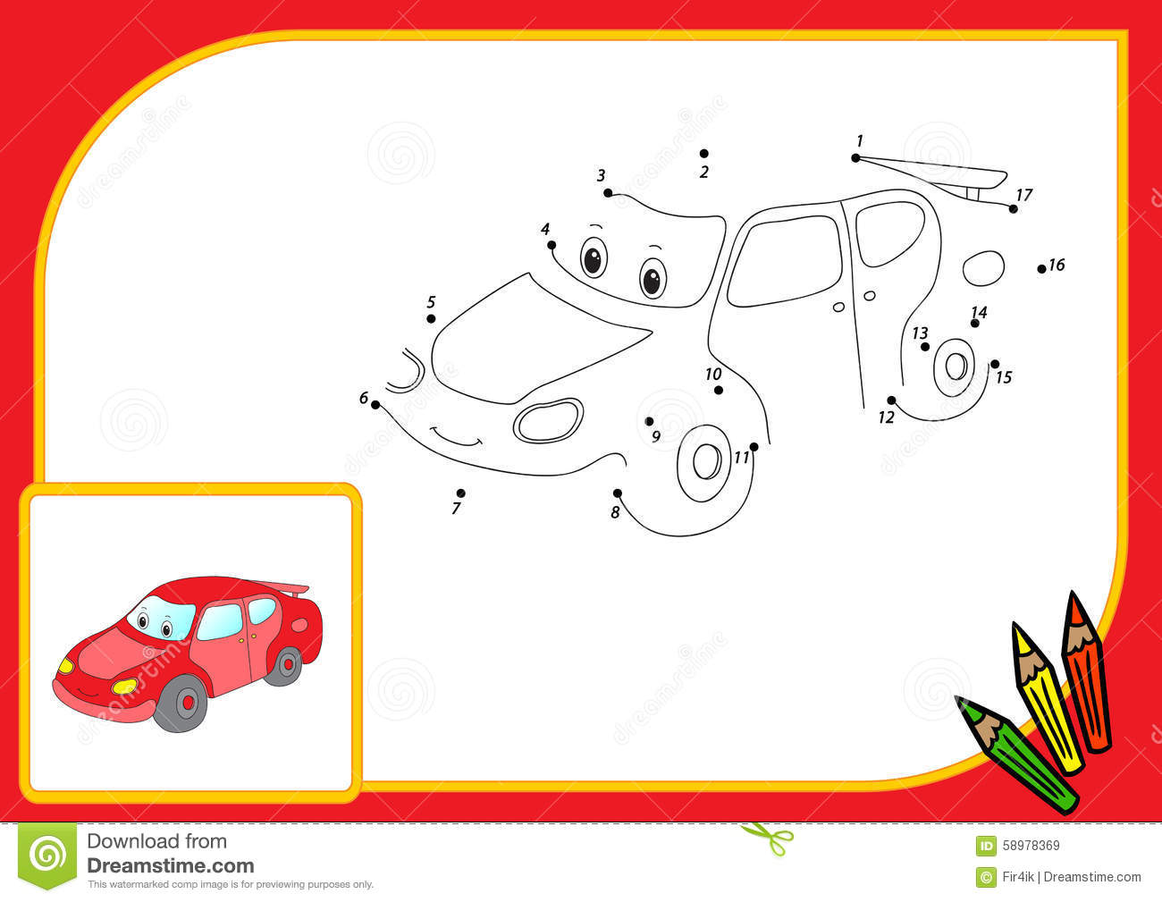 Funny Cartoon Car. Connect Dots And Get Image. Educational