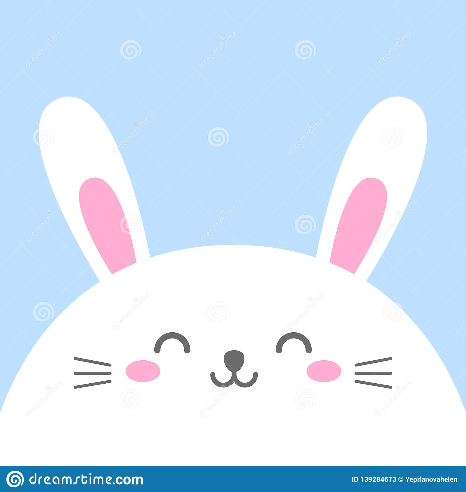 Funny Cartoon Card With Hare Happy Character Template For Design