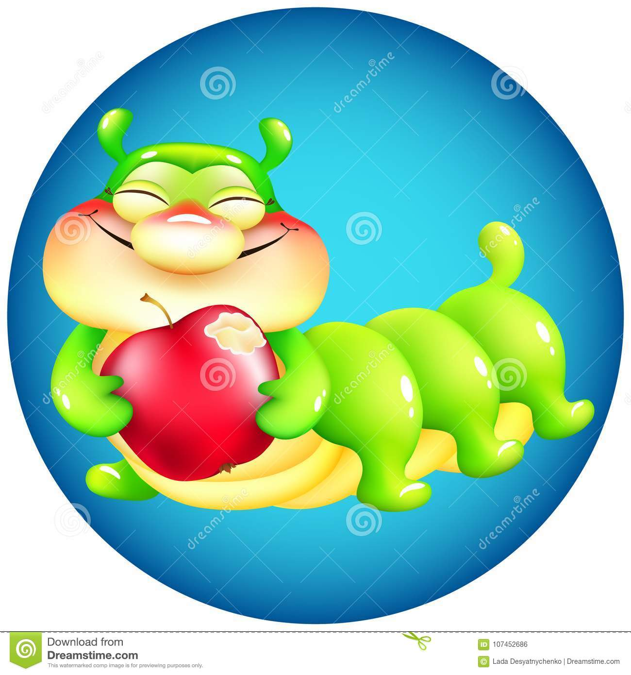 Funny Cartoon Caterpillar With Red Apple On Blue Background Stock