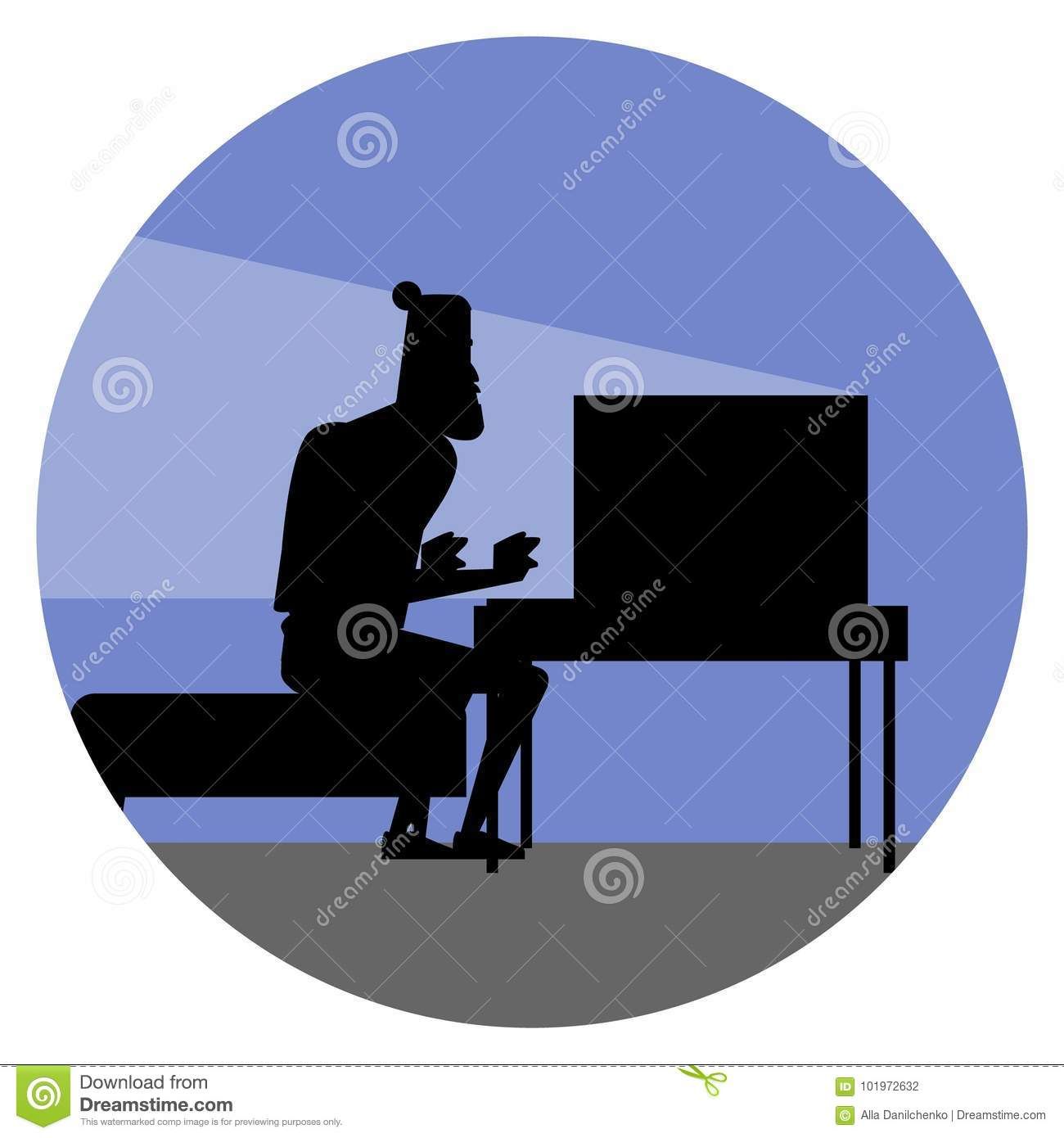Funny Cartoon Character. Silhouette Of Bearded Hipster ...