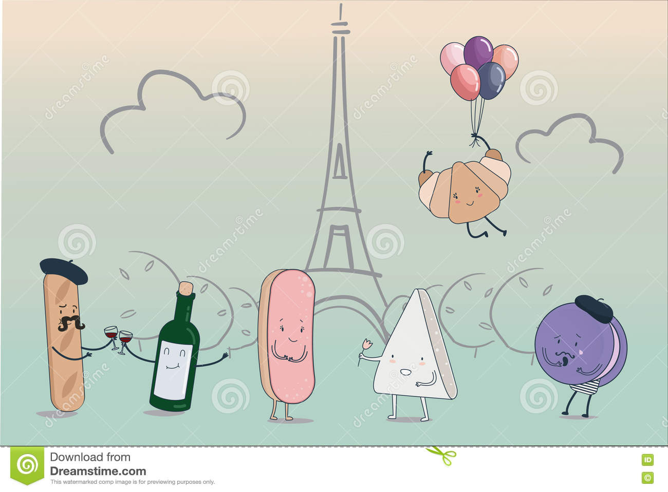 Torre Eiffel Dibujo Animado A Color: Funny Cartoon Characters Set Of Traditional French Food
