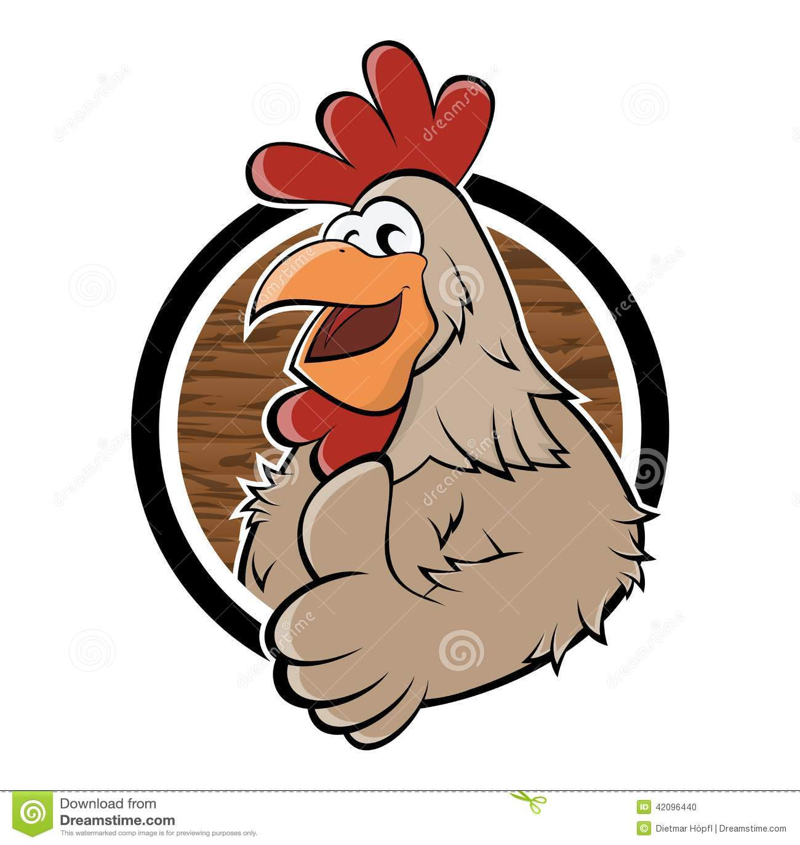 Funny Cartoon Chicken In A Badge Stock Vector ...
