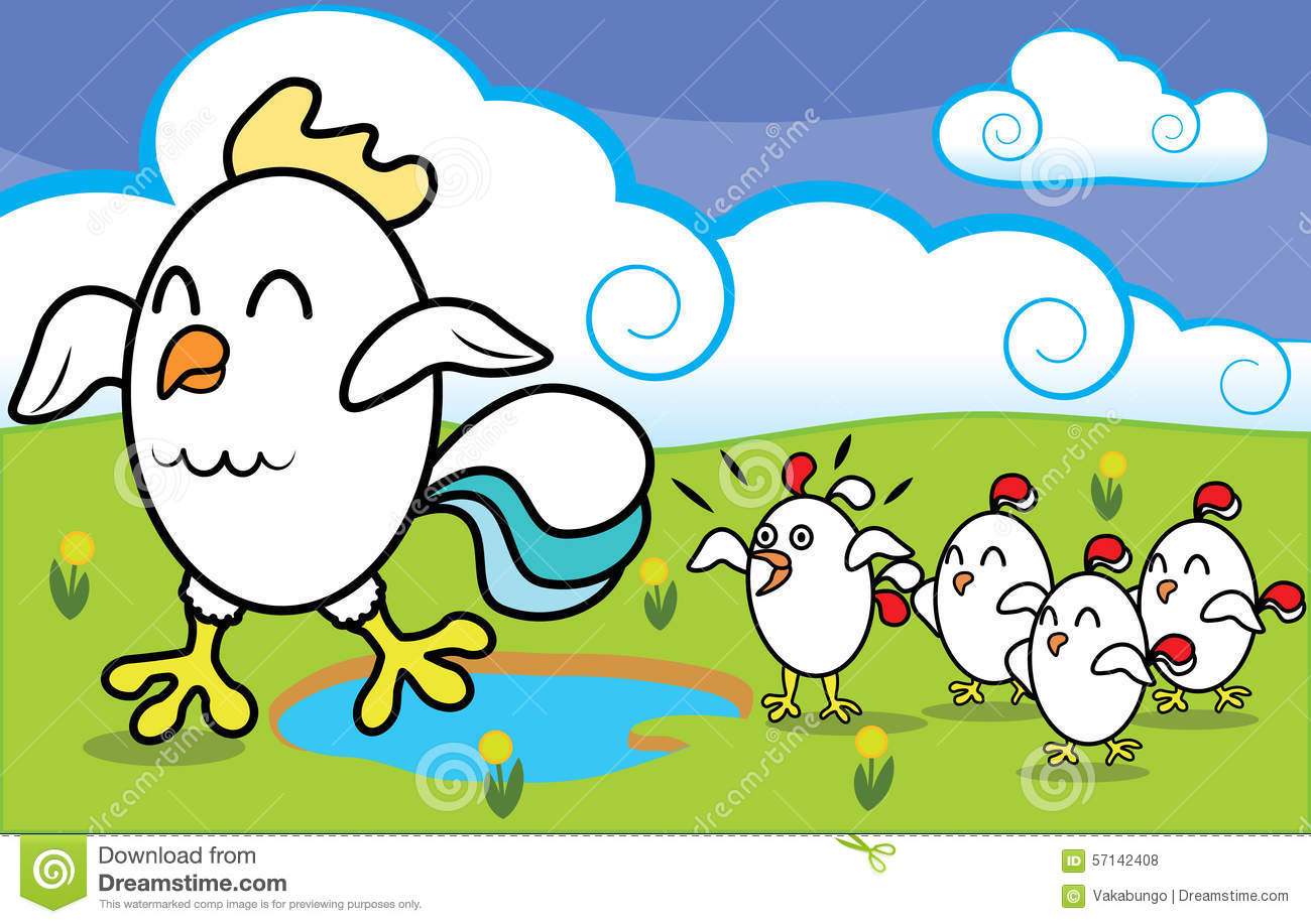 Funny Chicken Cartoons: Funny Cartoon Chicken With Chickens Walking On Stock