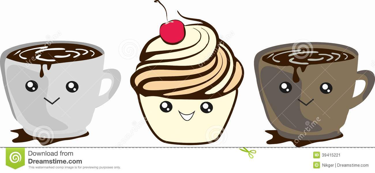 Funny Cartoon Coffee Cup And Muffin. Stock Illustration - Image: 39415221