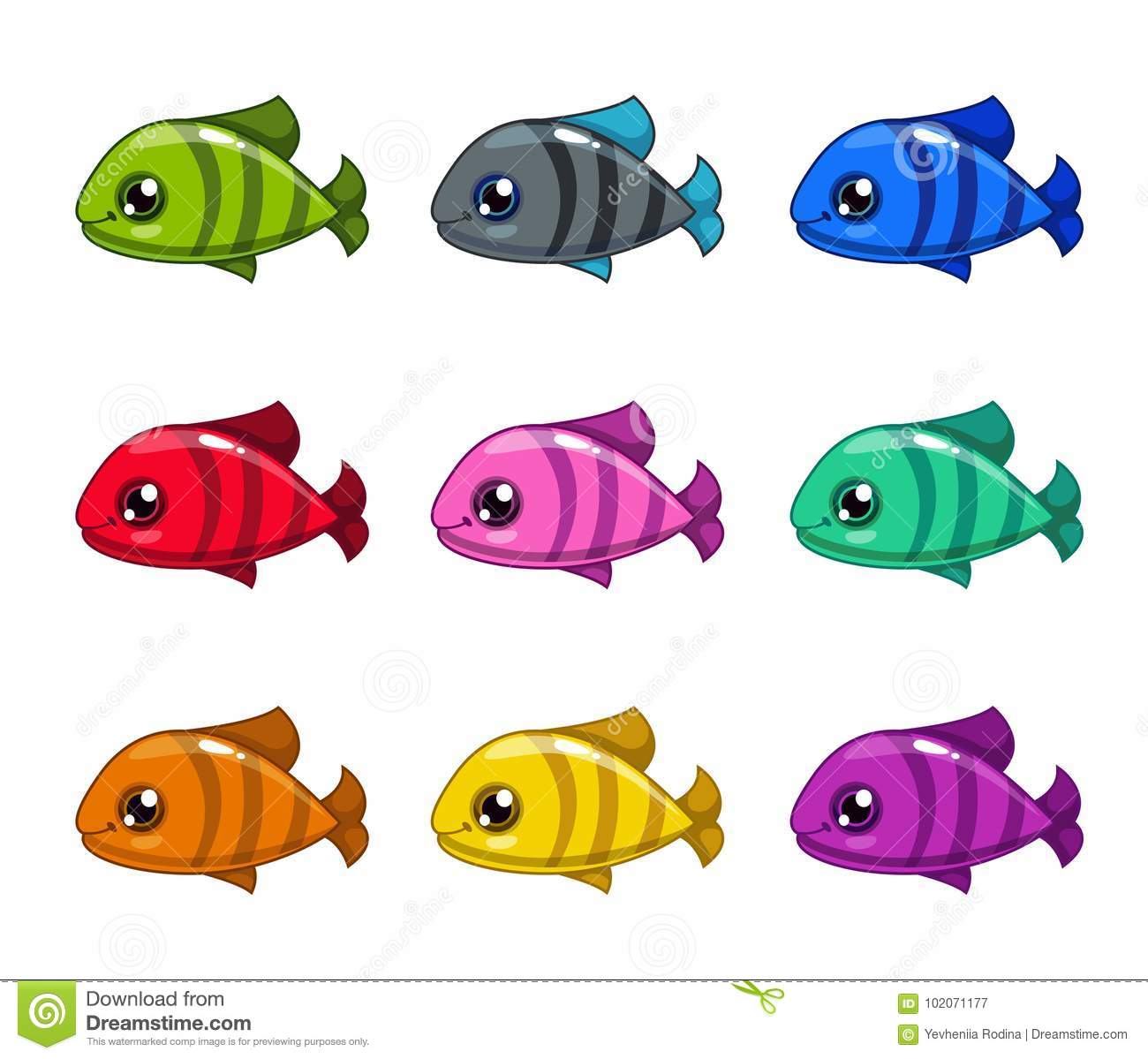 Funny Cartoon Colorful Fishes Set Stock Vector Illustration Of