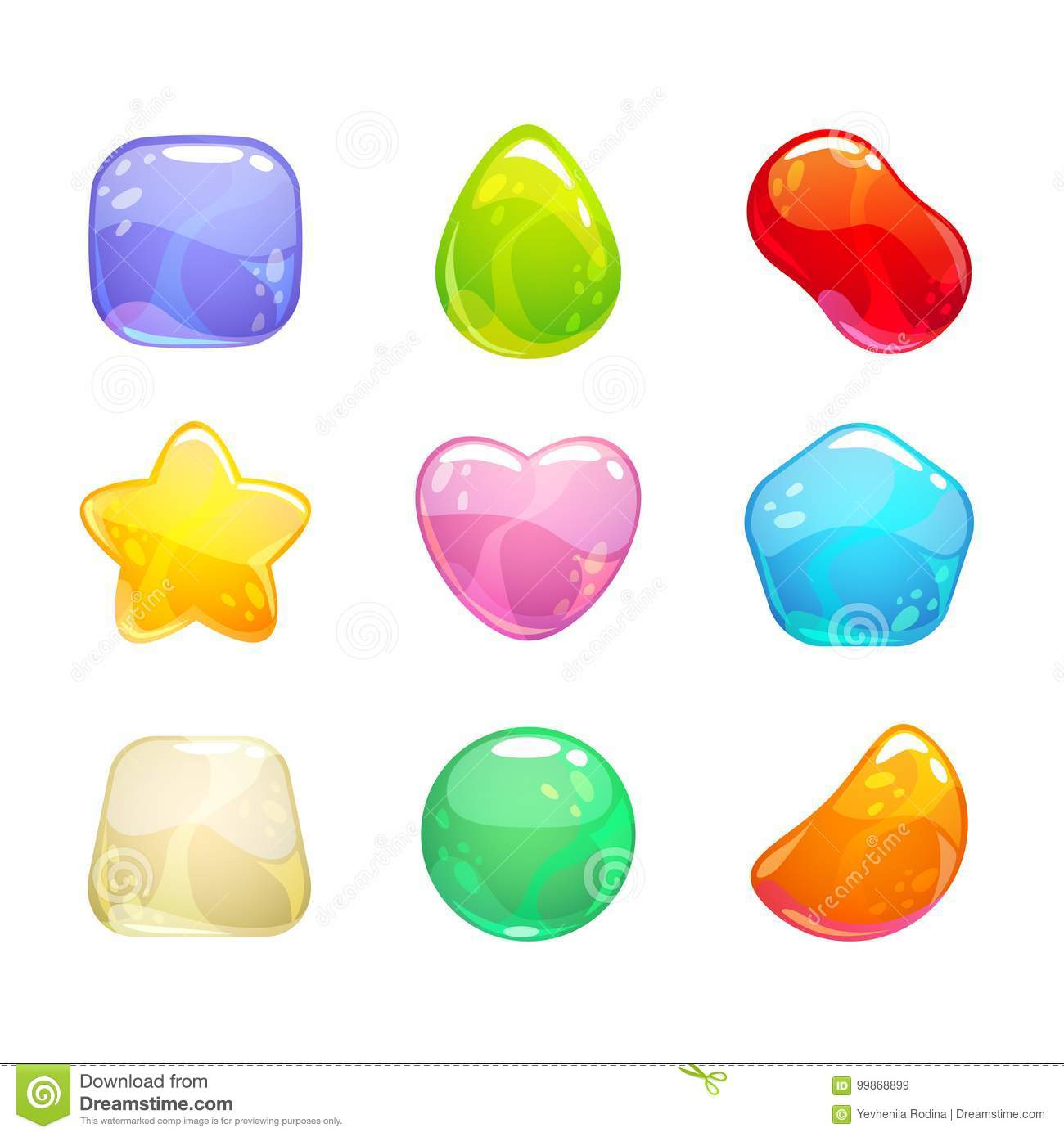 Funny cartoon colorful jelly candies set.