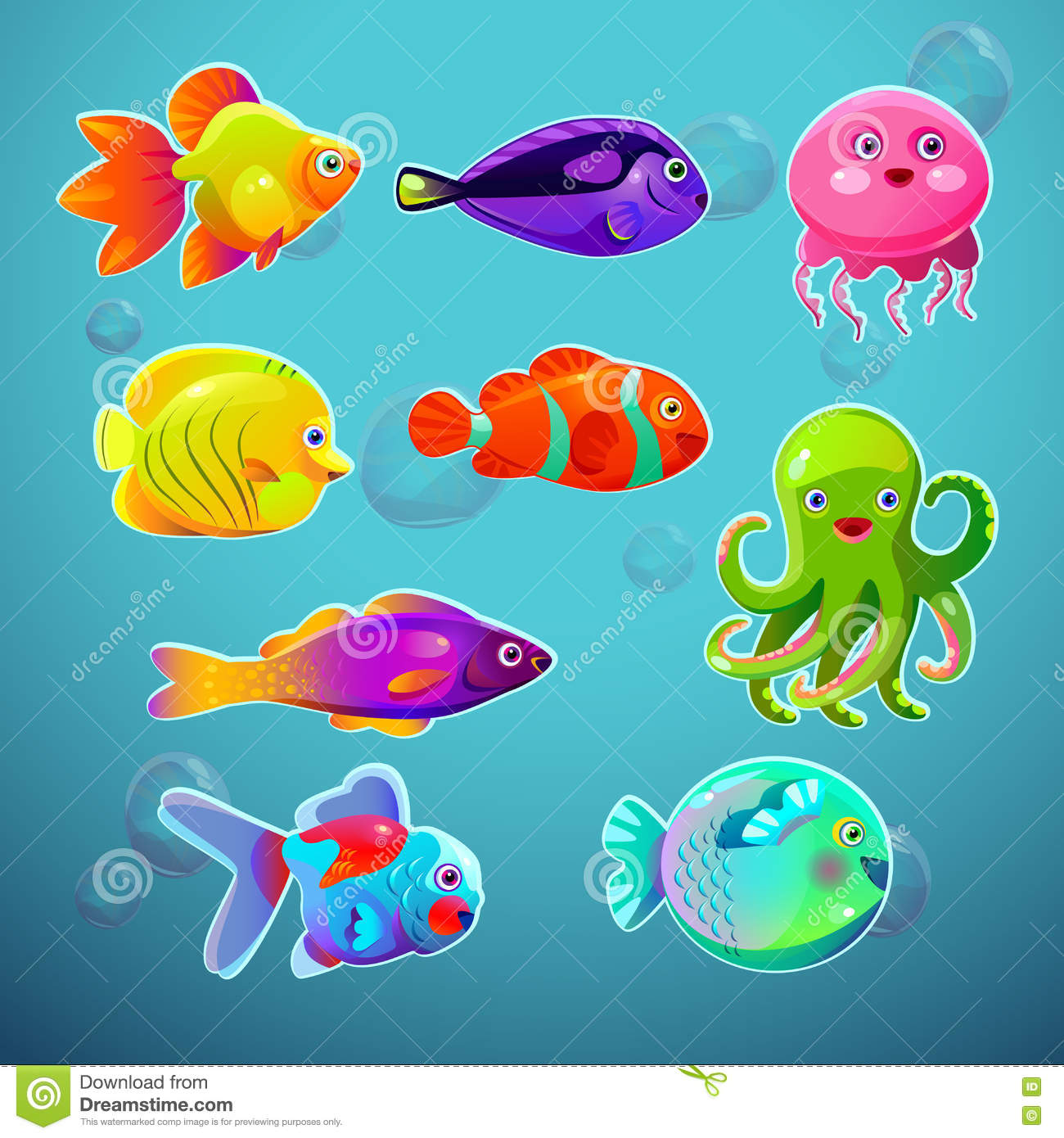 Funny Cartoon Colorful Tropic Fishes Set Stock Vector