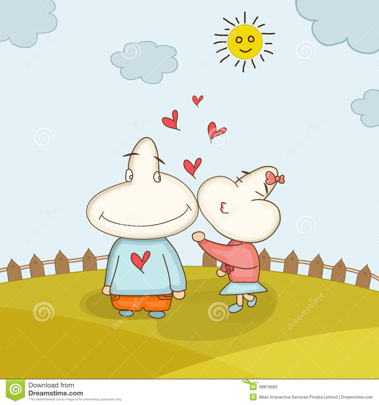 Funny Cartoon Couple For Valentines Day. Stock ...