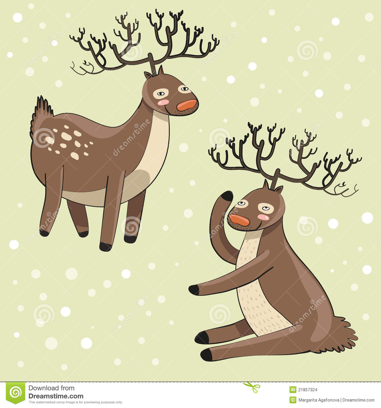 Funny Cartoon Deers Snow Background Vector Illustration