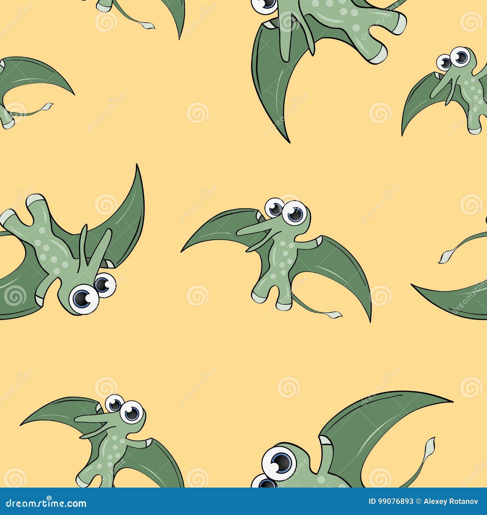 Funny cartoon dinosaur seamless pattern