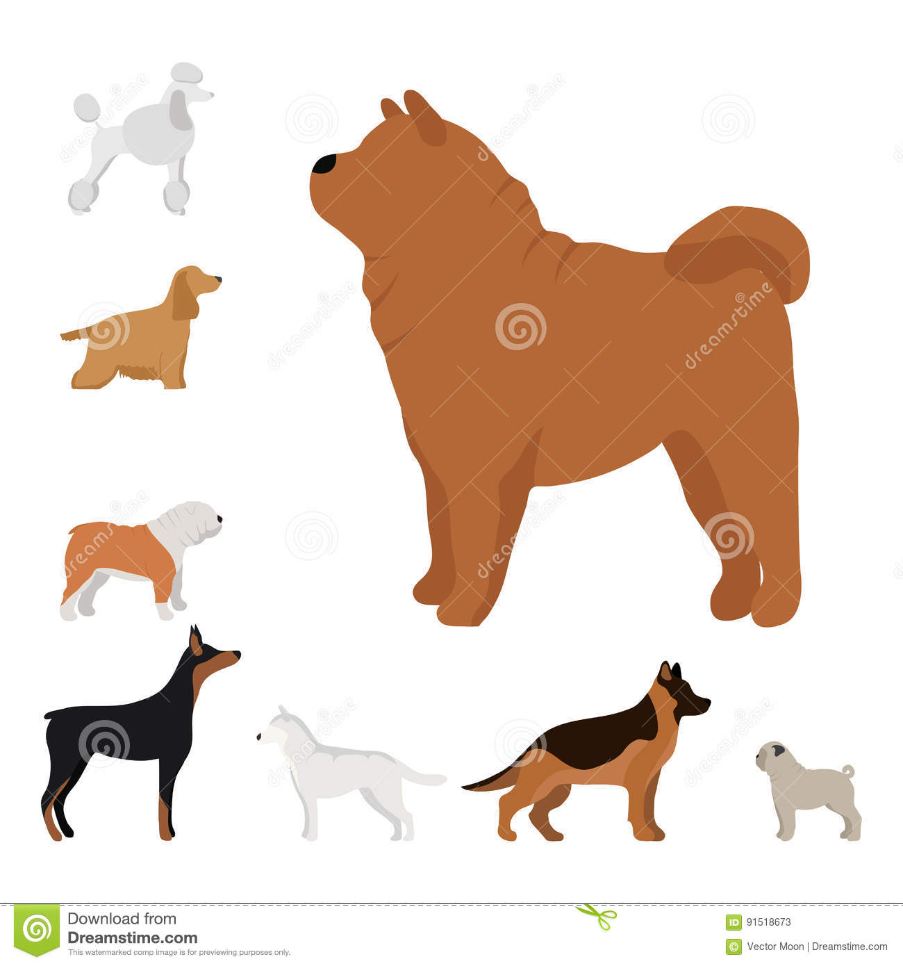 Funny cartoon dog character bread in cartoon style vector illustration.