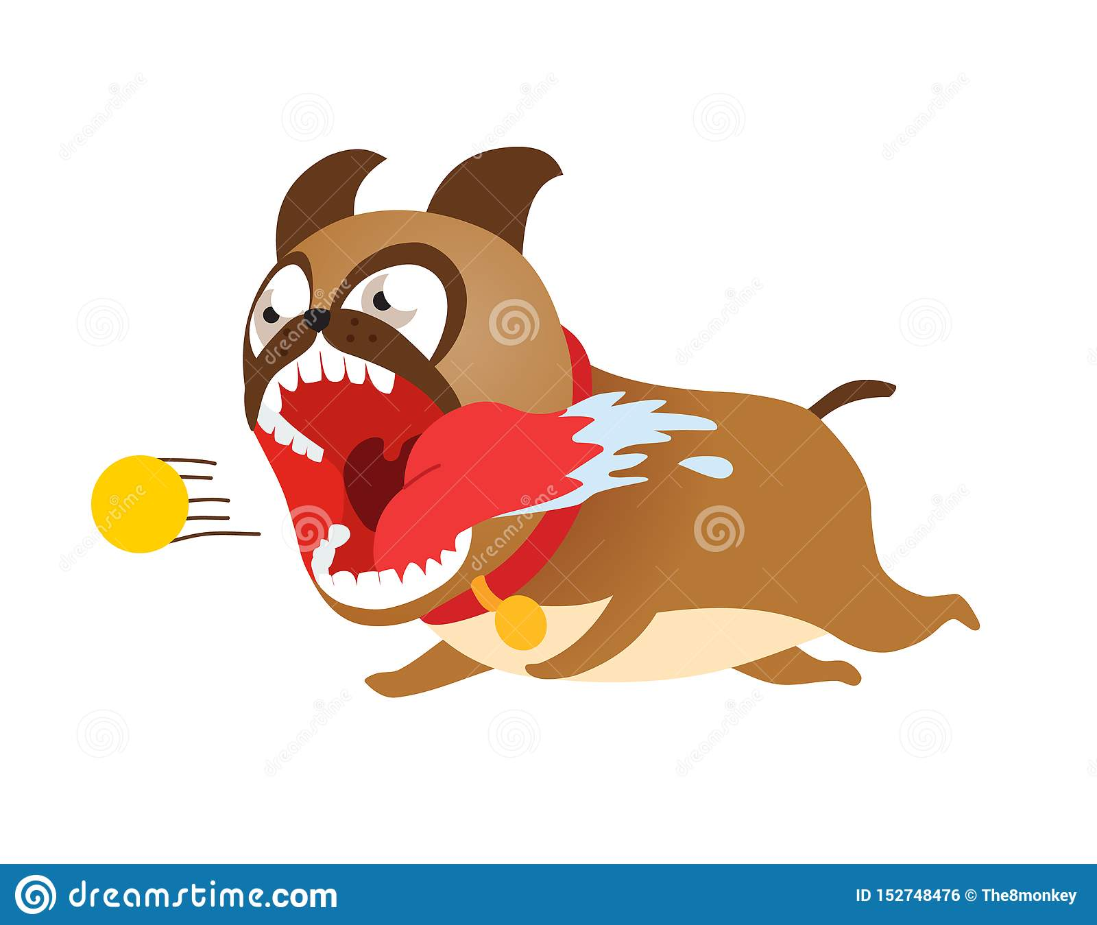 Funny cartoon dog running after tennis ball. Cute puppy vector illustration.