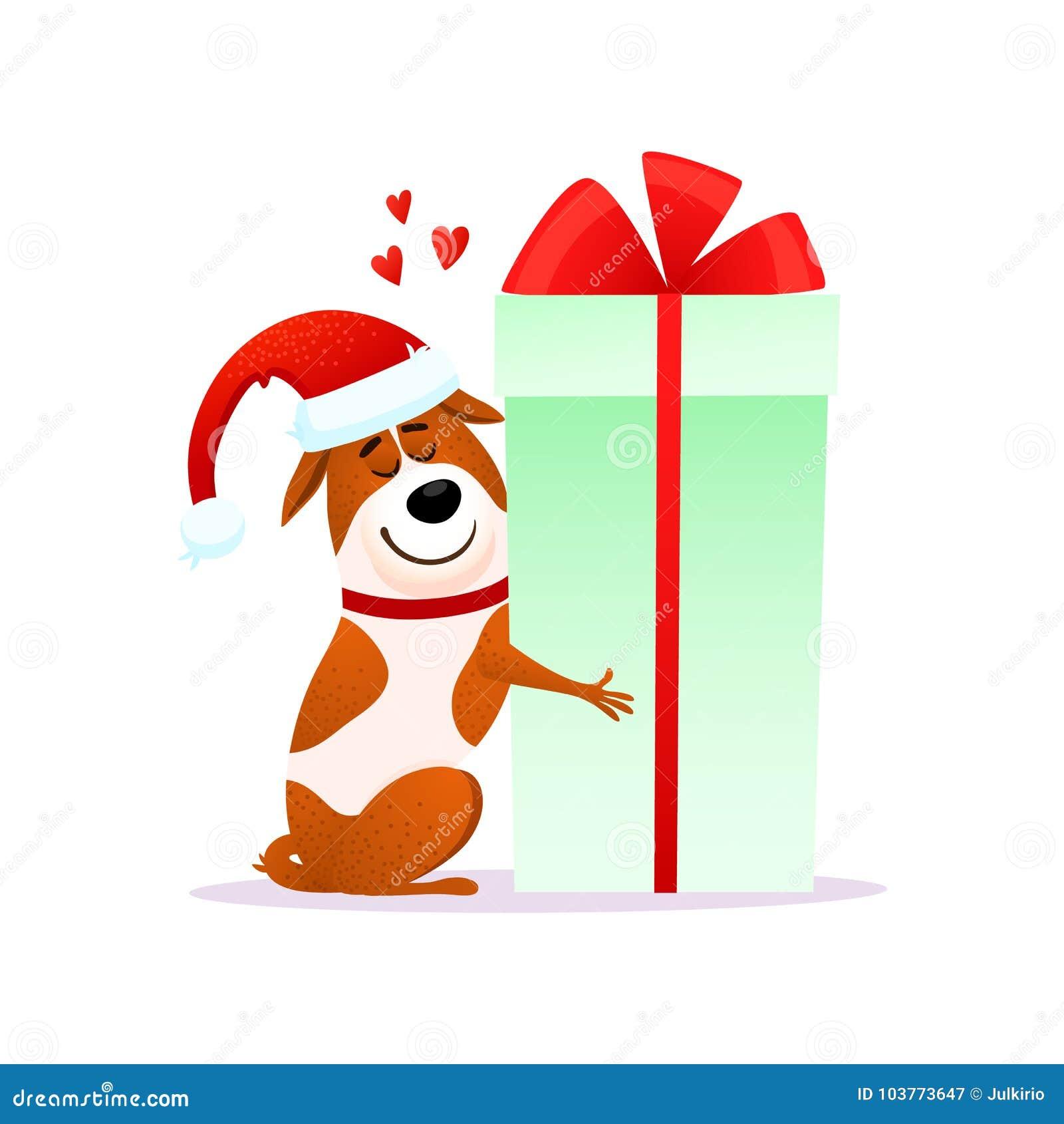 120d4d7362b83 Funny cartoon dog in Santa hat hugs Xmas gift. Royalty-Free Vector